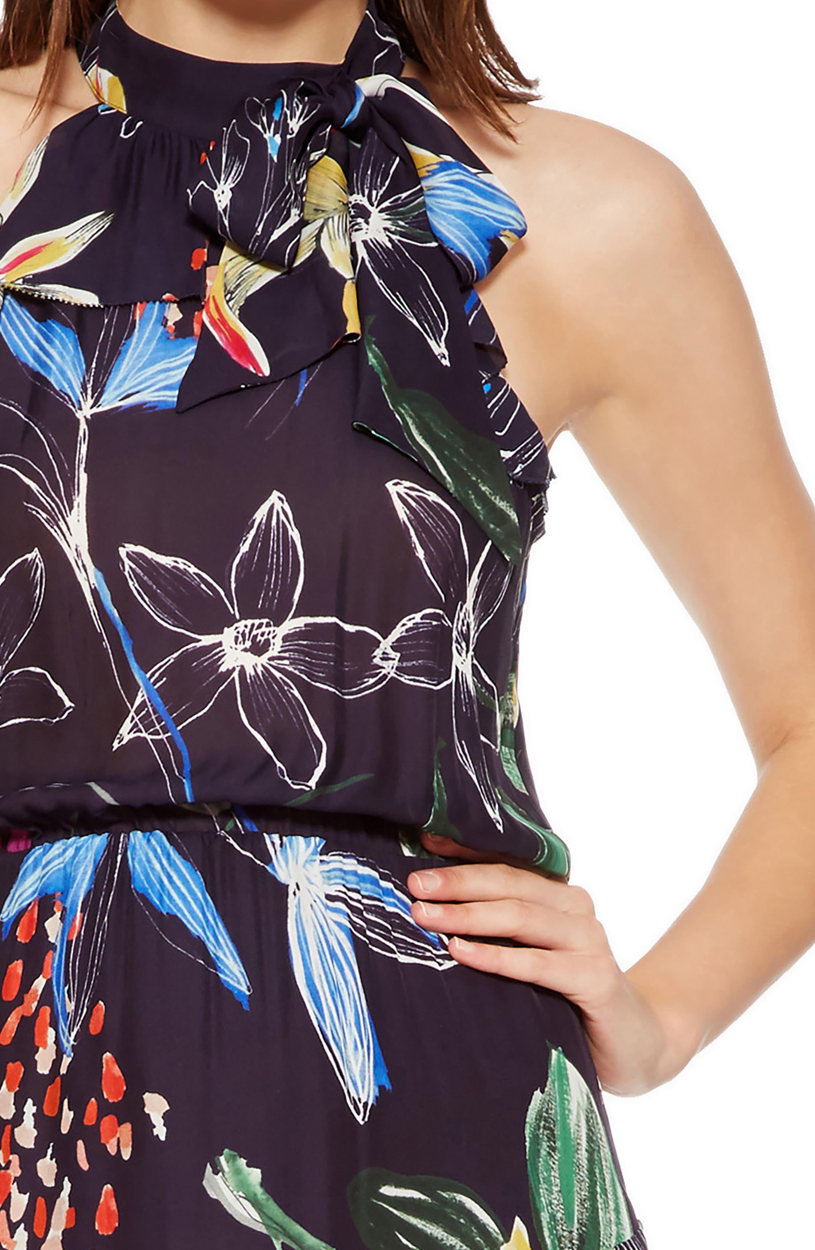 Julieta Tiered Dress,                             Alternate thumbnail 4, color,                             COSMIC FLEUR