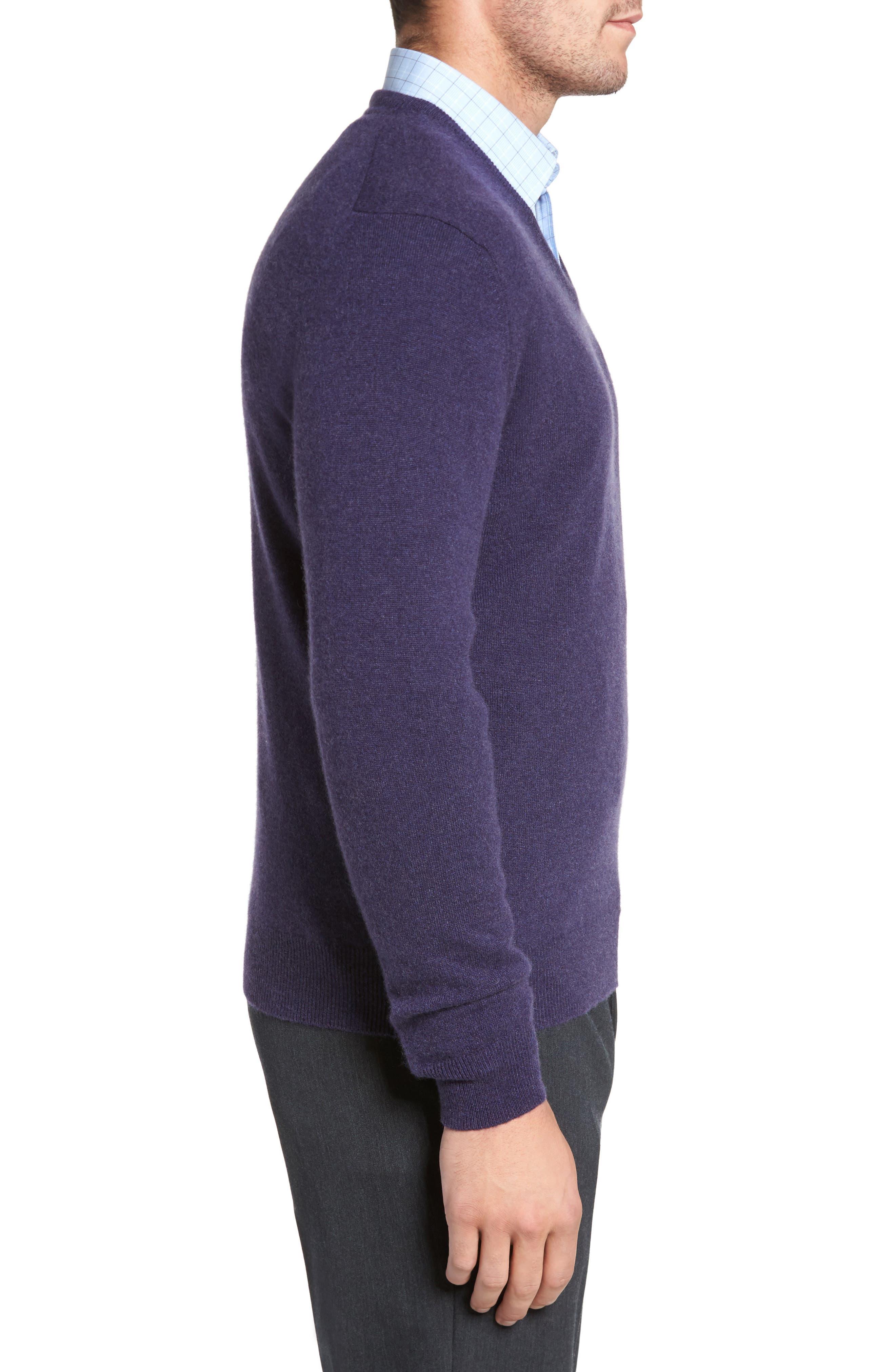 Cashmere V-Neck Sweater,                             Alternate thumbnail 17, color,