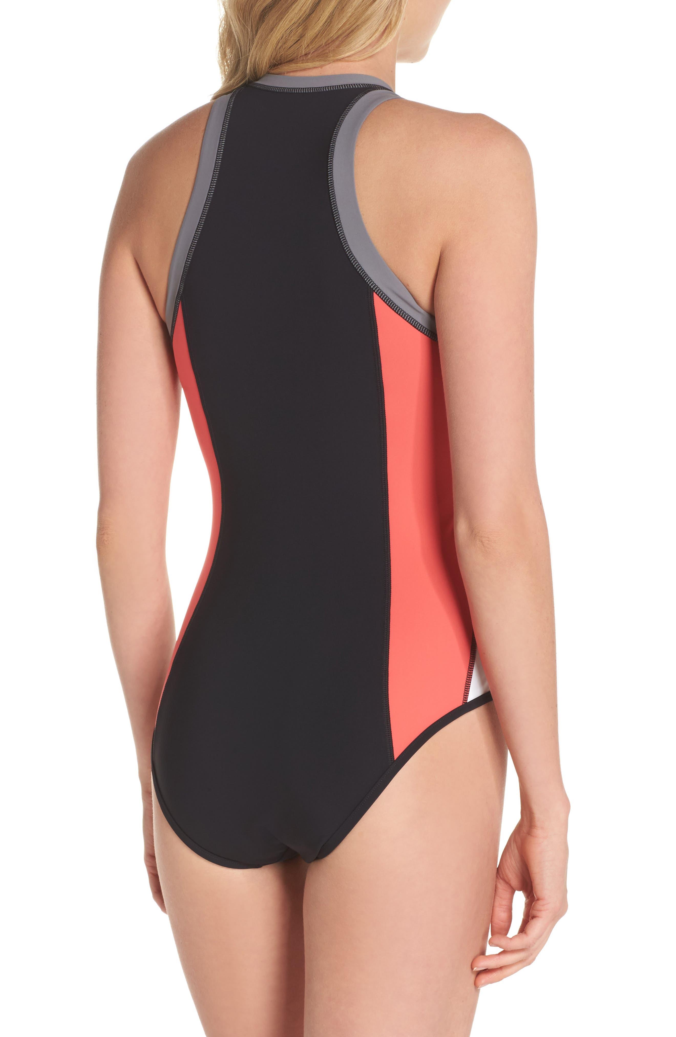 Resist Me Zip Front Surf One-Piece Swimsuit,                             Alternate thumbnail 2, color,                             001
