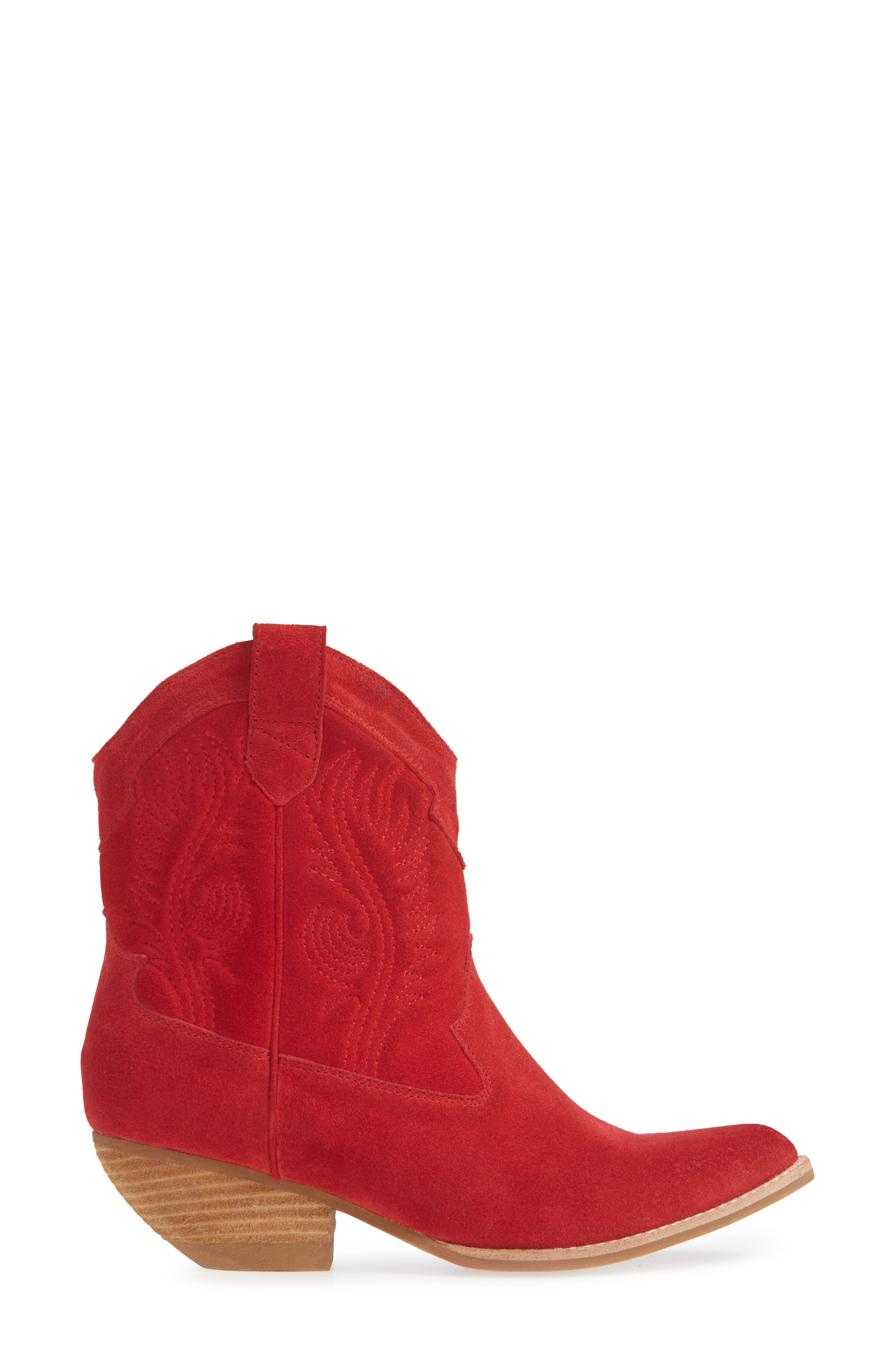 Calvera Western Boot,                             Alternate thumbnail 3, color,                             RED SUEDE