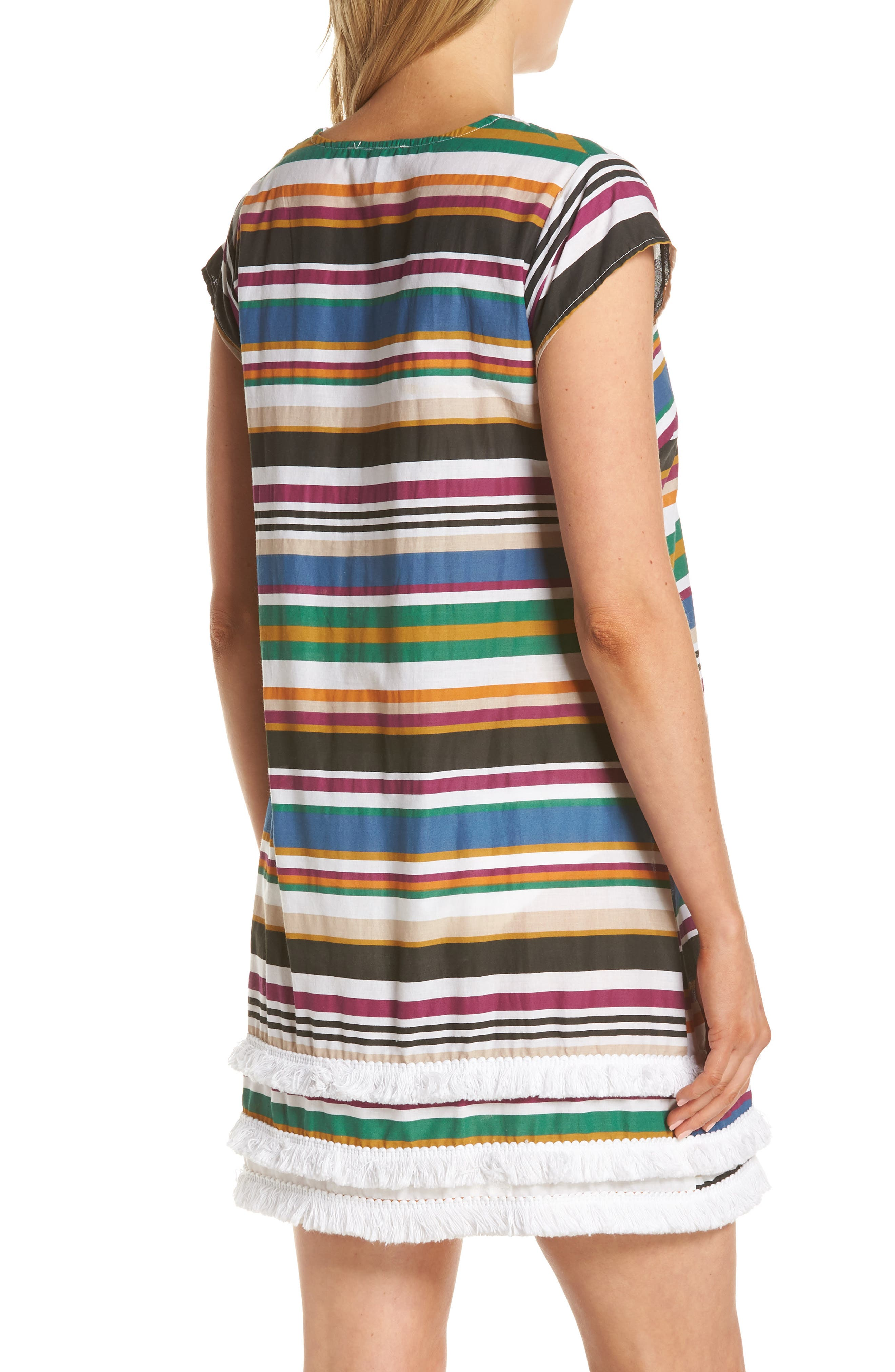 BLEU BY ROD BEATTIE,                             Under Cover Stripe Cover-Up Dress,                             Alternate thumbnail 2, color,                             NAVY/ NEUTRAL