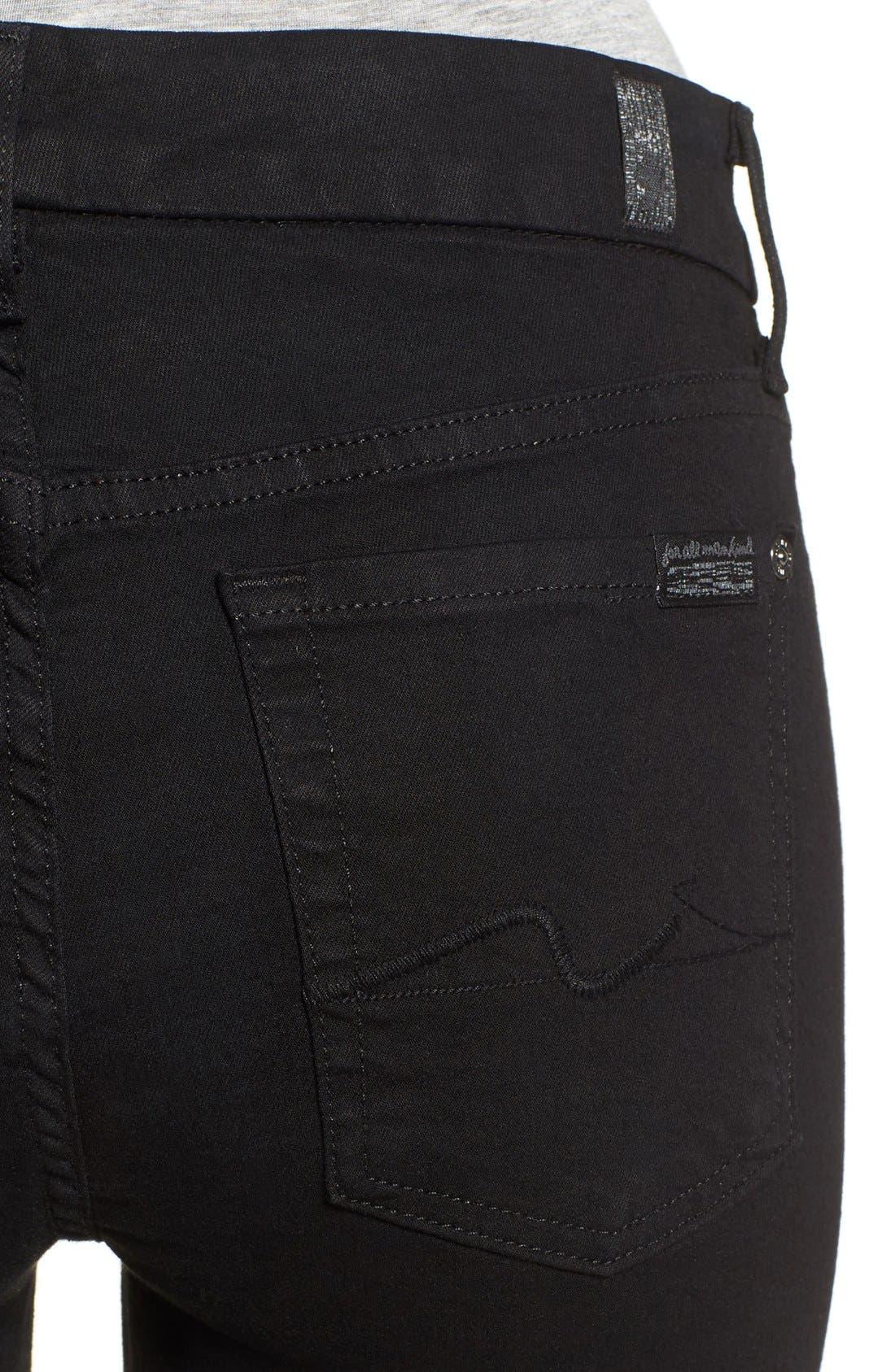 7 FOR ALL MANKIND<SUP>®</SUP>,                             'b(air) - Kimmie' Straight Leg Jeans,                             Alternate thumbnail 3, color,                             BAIR BLACK