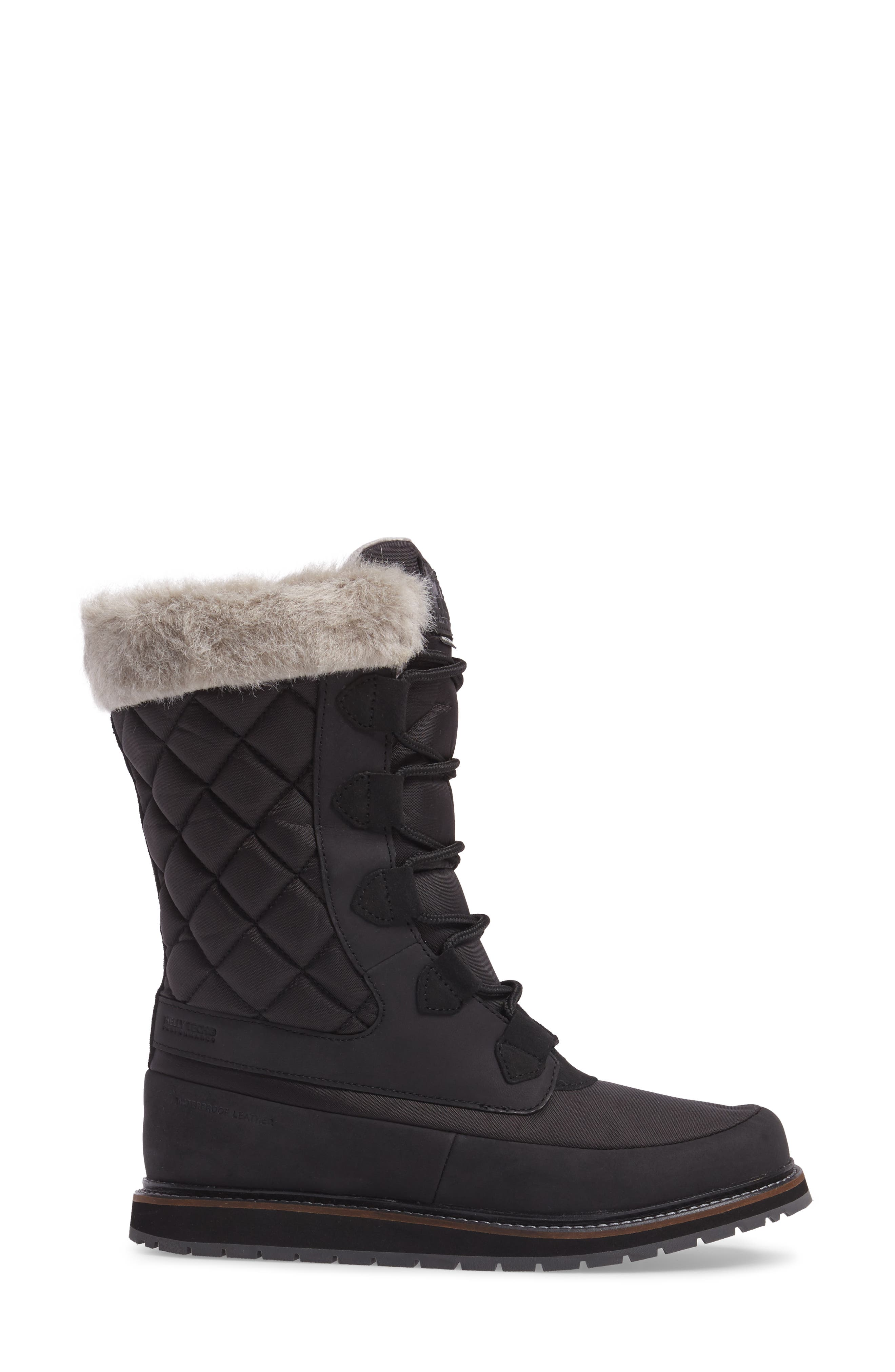 Arosa Waterproof Boot with Faux Fur Trim,                             Alternate thumbnail 3, color,                             001