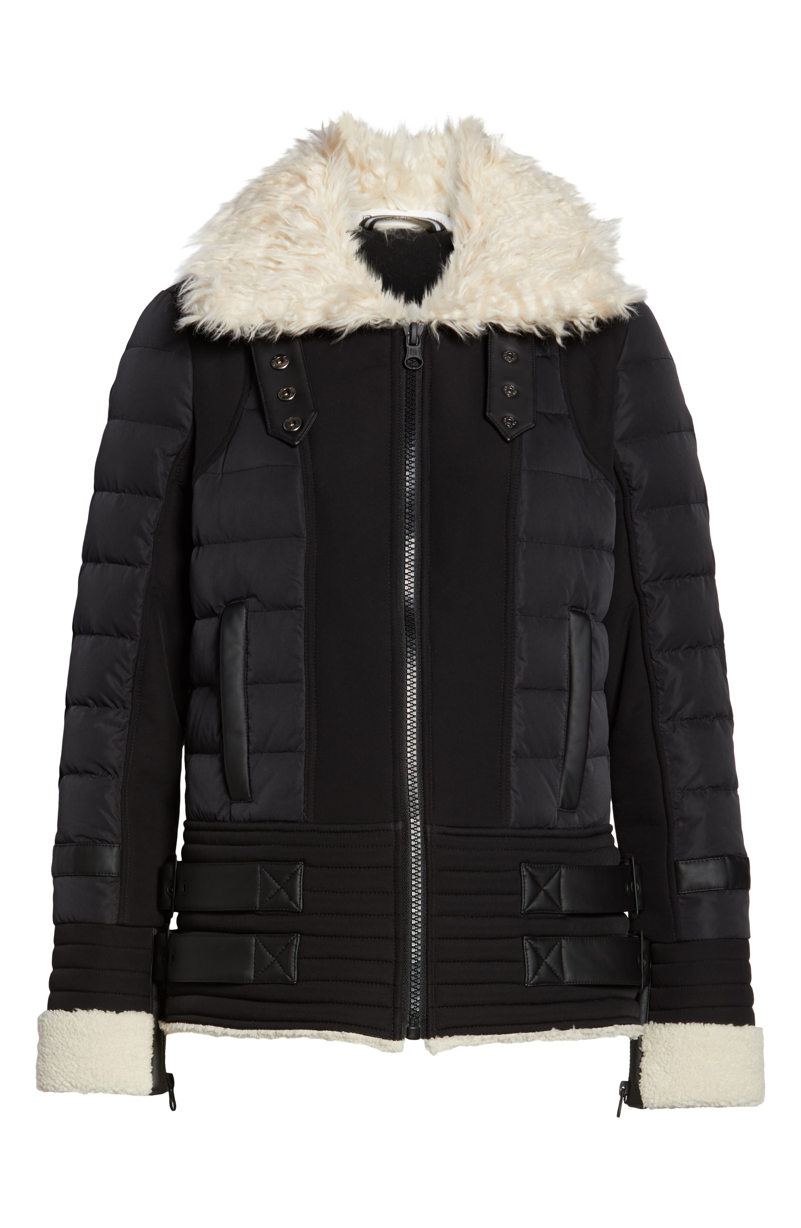 BLANC NOIR,                             Moto Aviator Puffer Jacket,                             Alternate thumbnail 6, color,                             BLACK