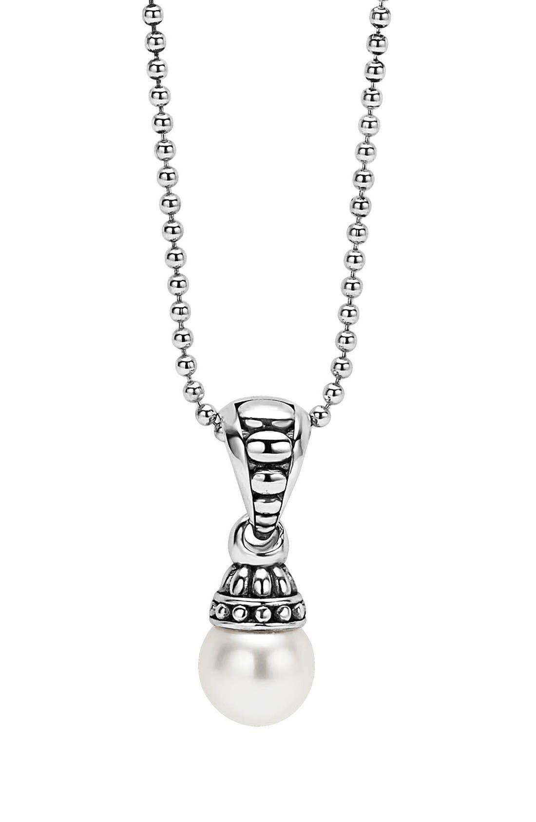 'Luna' Pearl Pendant Necklace,                         Main,                         color, 040