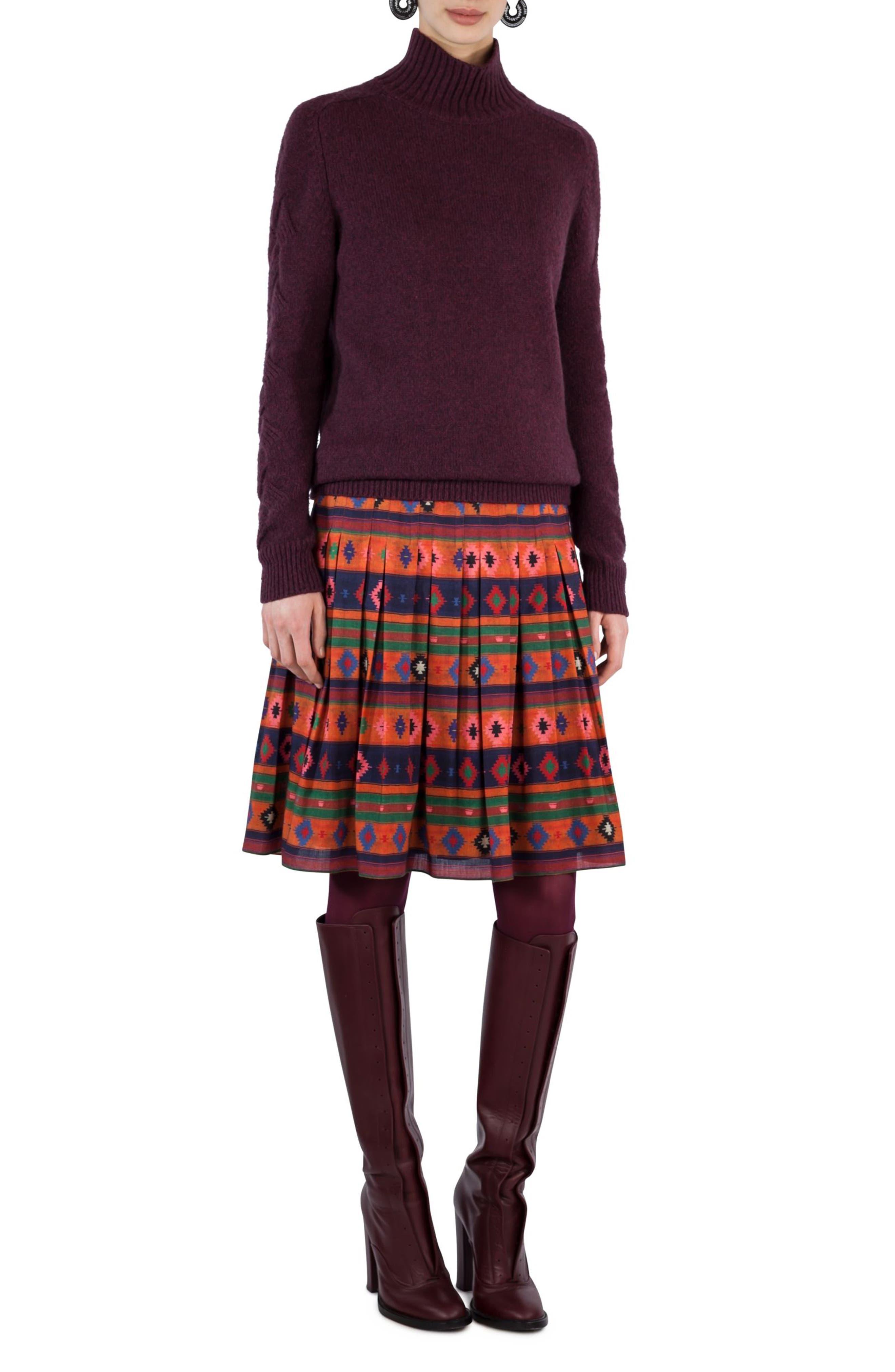 Print Wool Bell Skirt,                             Alternate thumbnail 3, color,