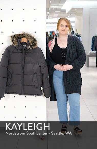 Marling Faux Fur Collar Puffer Jacket, sales video thumbnail