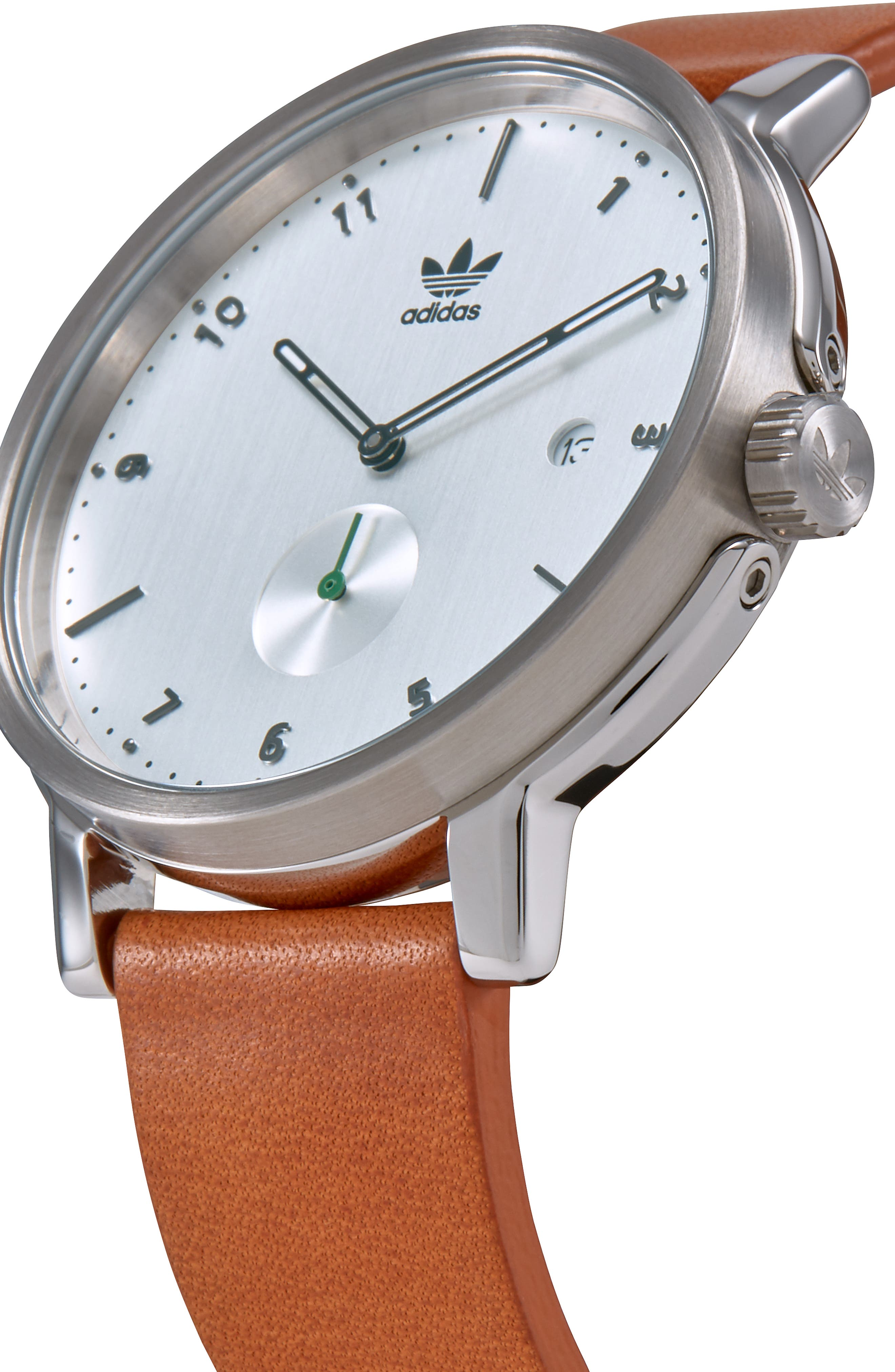 District Leather Strap Watch, 40mm,                             Alternate thumbnail 4, color,                             TAN/ SILVER