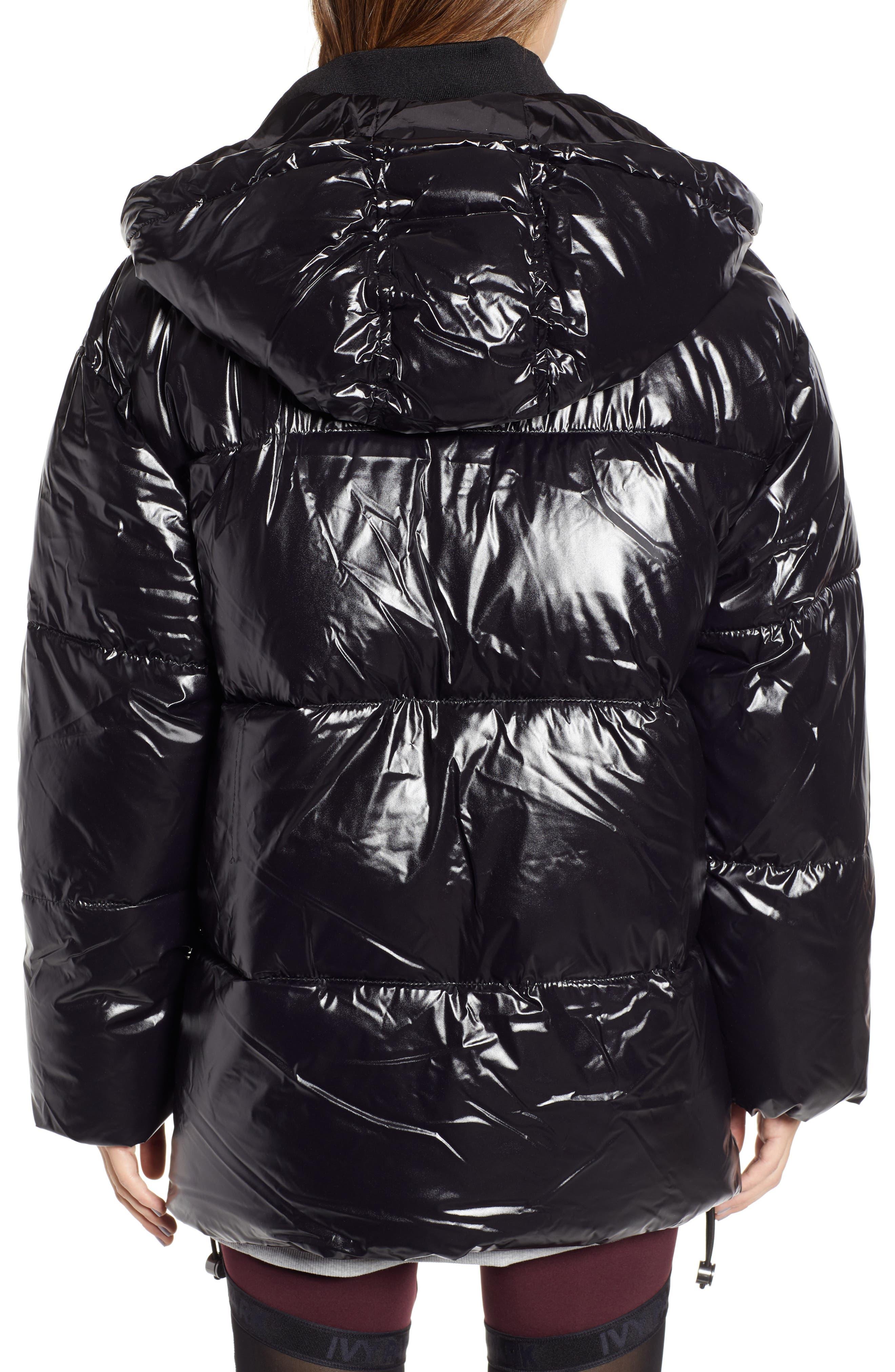 Glossy Puffer Coat,                             Alternate thumbnail 2, color,                             BLACK