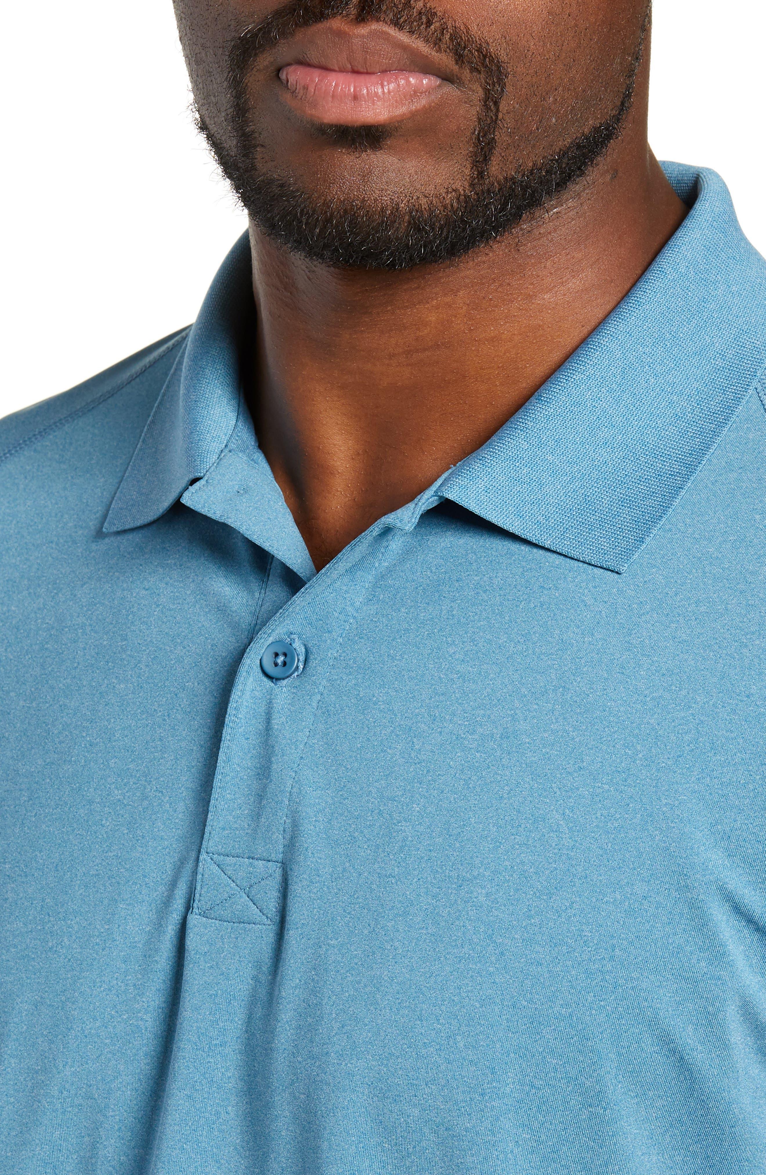 M-Flex Flatiron Slim Fit Golf Polo,                             Alternate thumbnail 4, color,                             HEATHERED BLUE