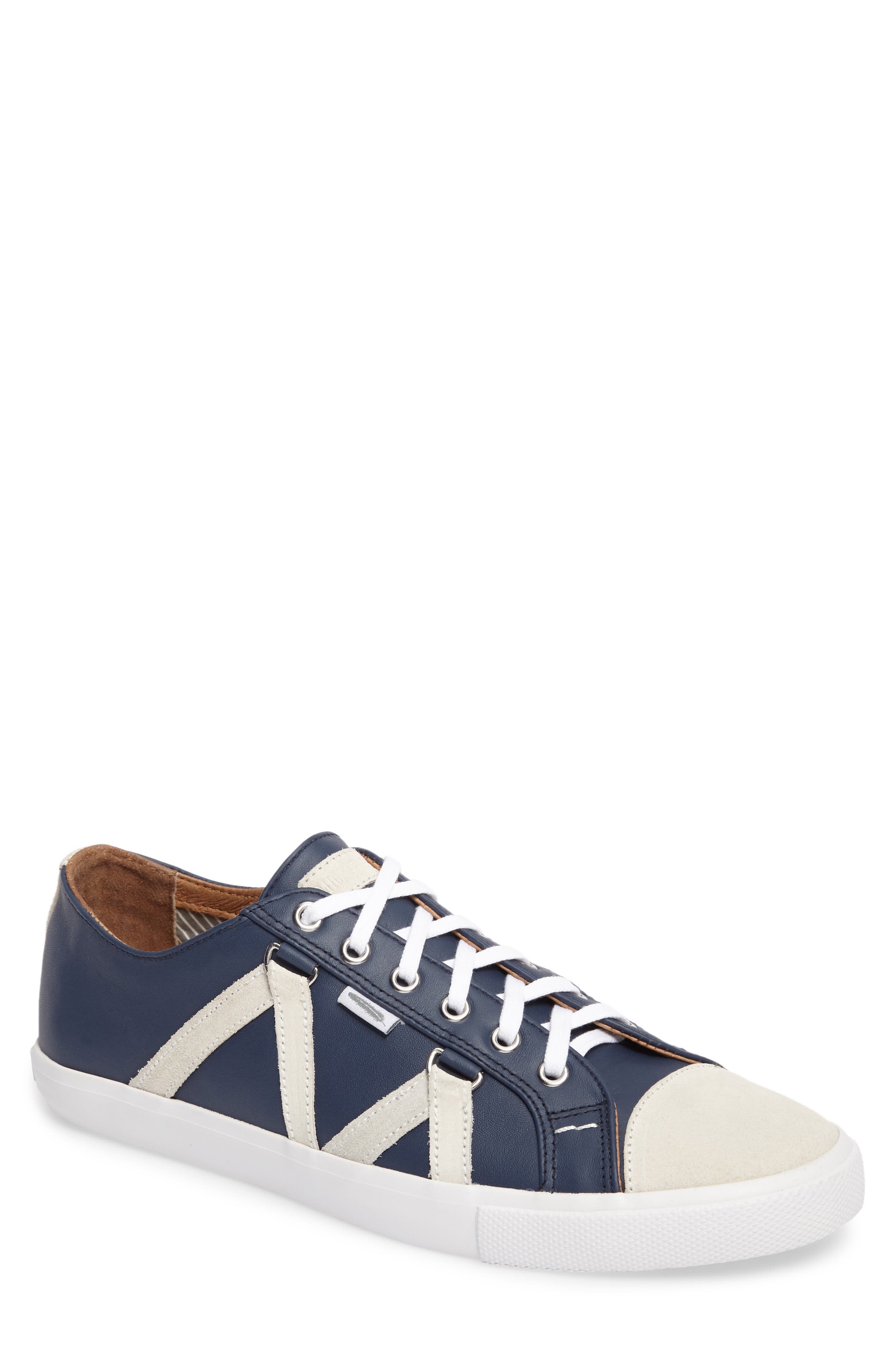 Signature Sneaker,                         Main,                         color, NAVY LEATHER