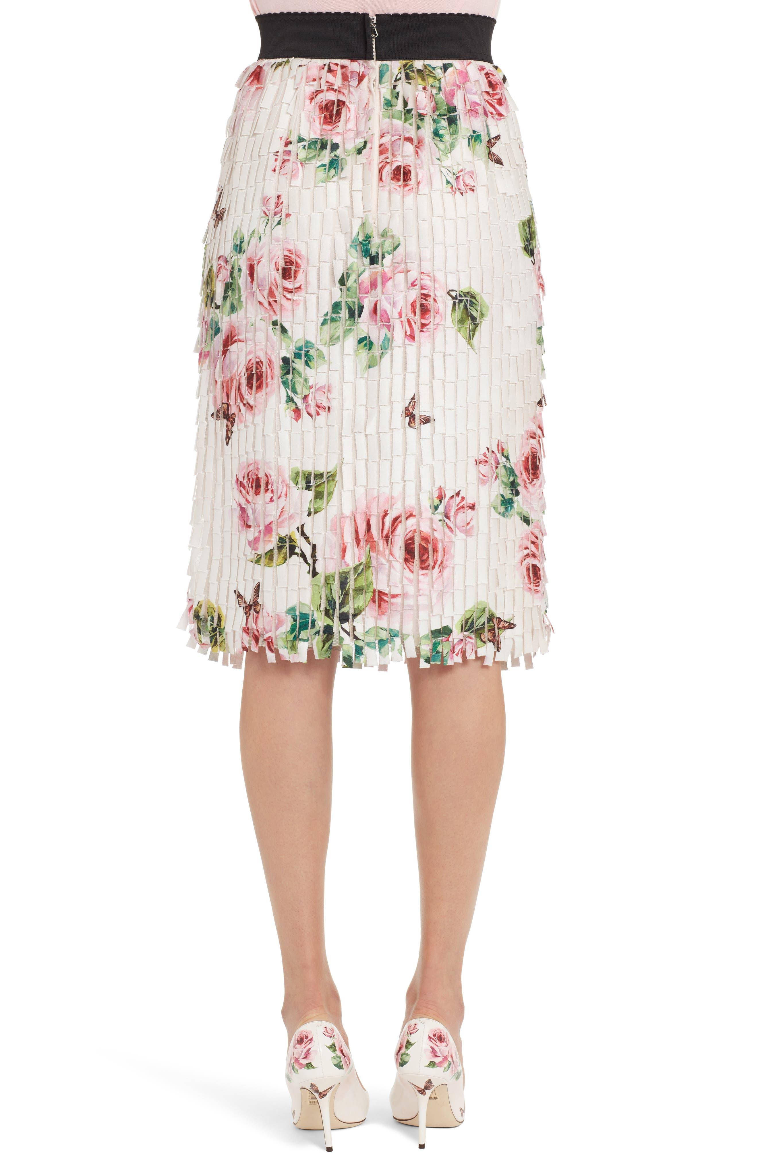 Rose Print Fringe Skirt,                             Alternate thumbnail 2, color,                             680