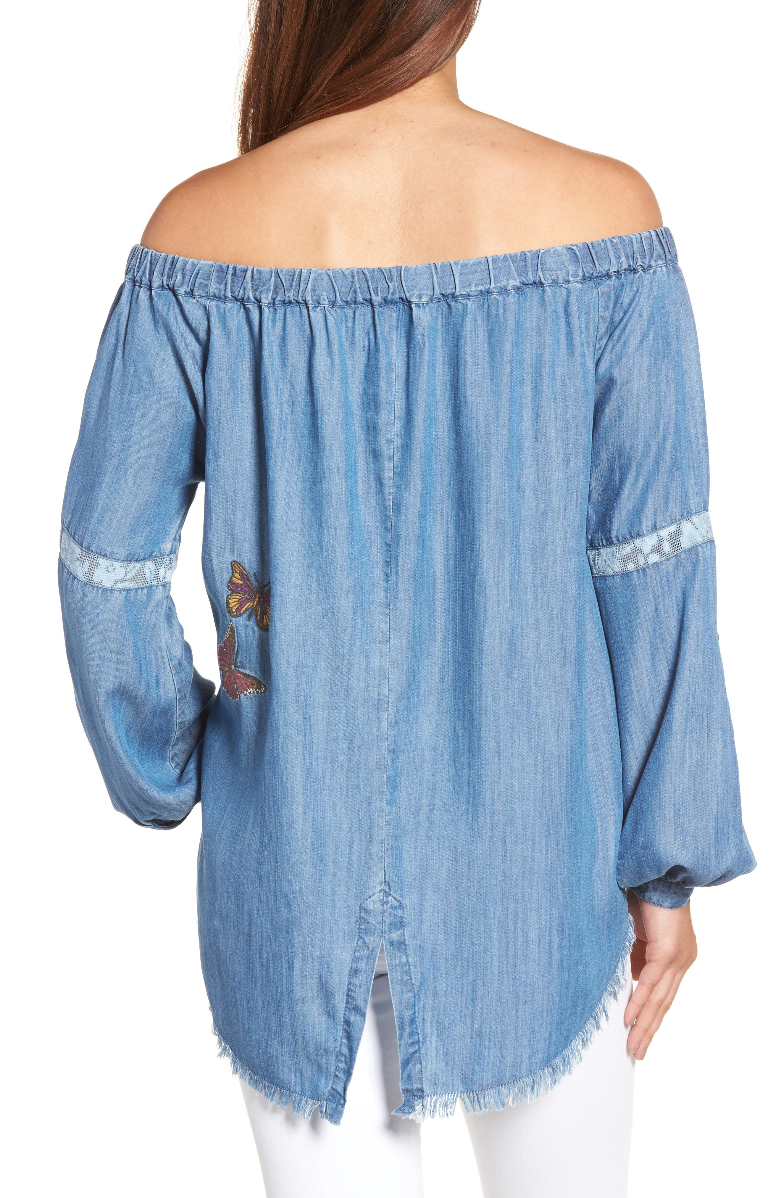 Embroidered Off the Shoulder Top,                             Alternate thumbnail 2, color,                             420