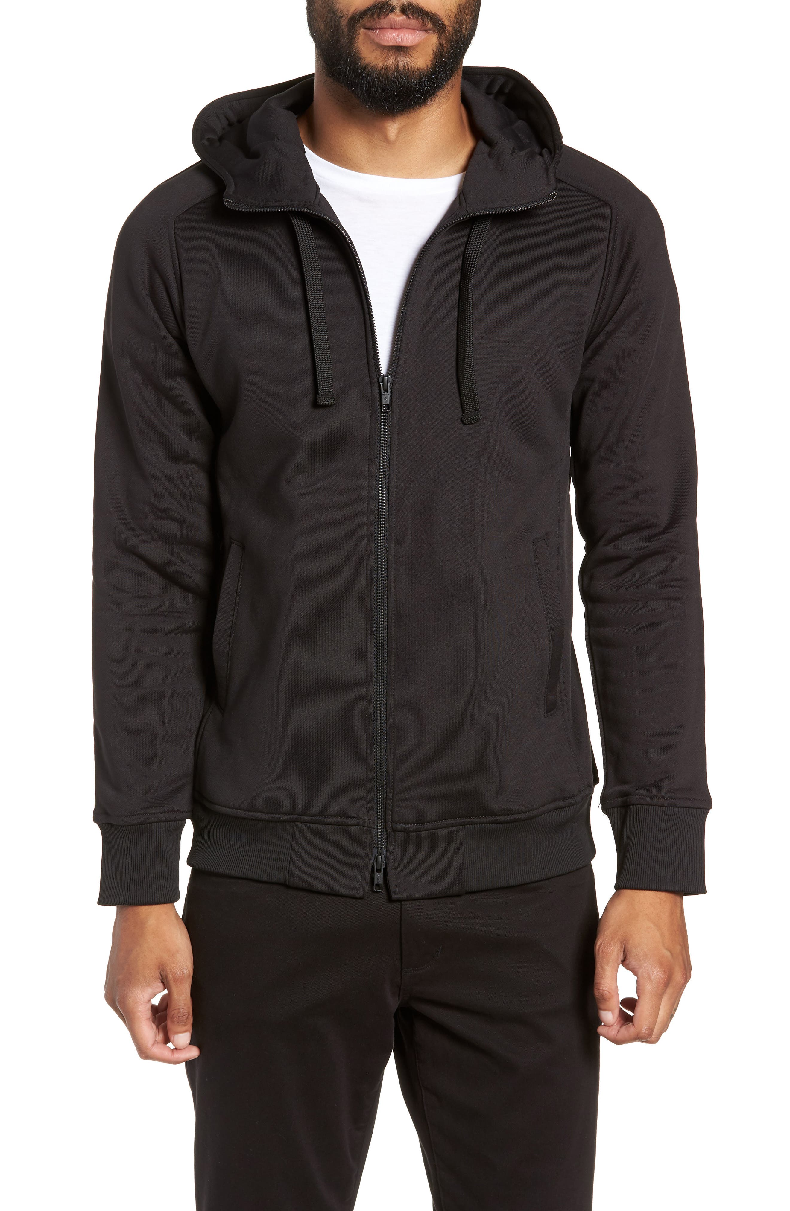 The Lux Trim Fit Full Zip Hoodie,                             Alternate thumbnail 4, color,                             BLACK