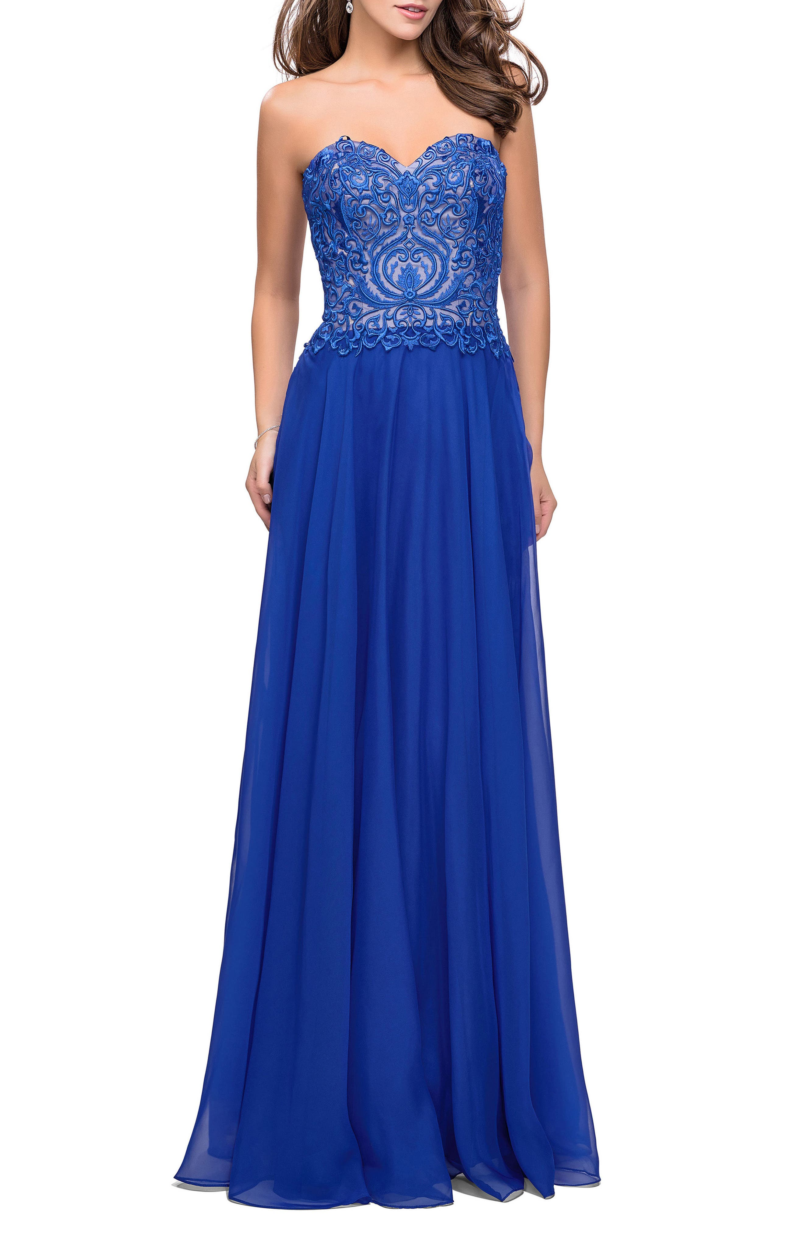 Strapless Chiffon Gown,                             Main thumbnail 1, color,                             402