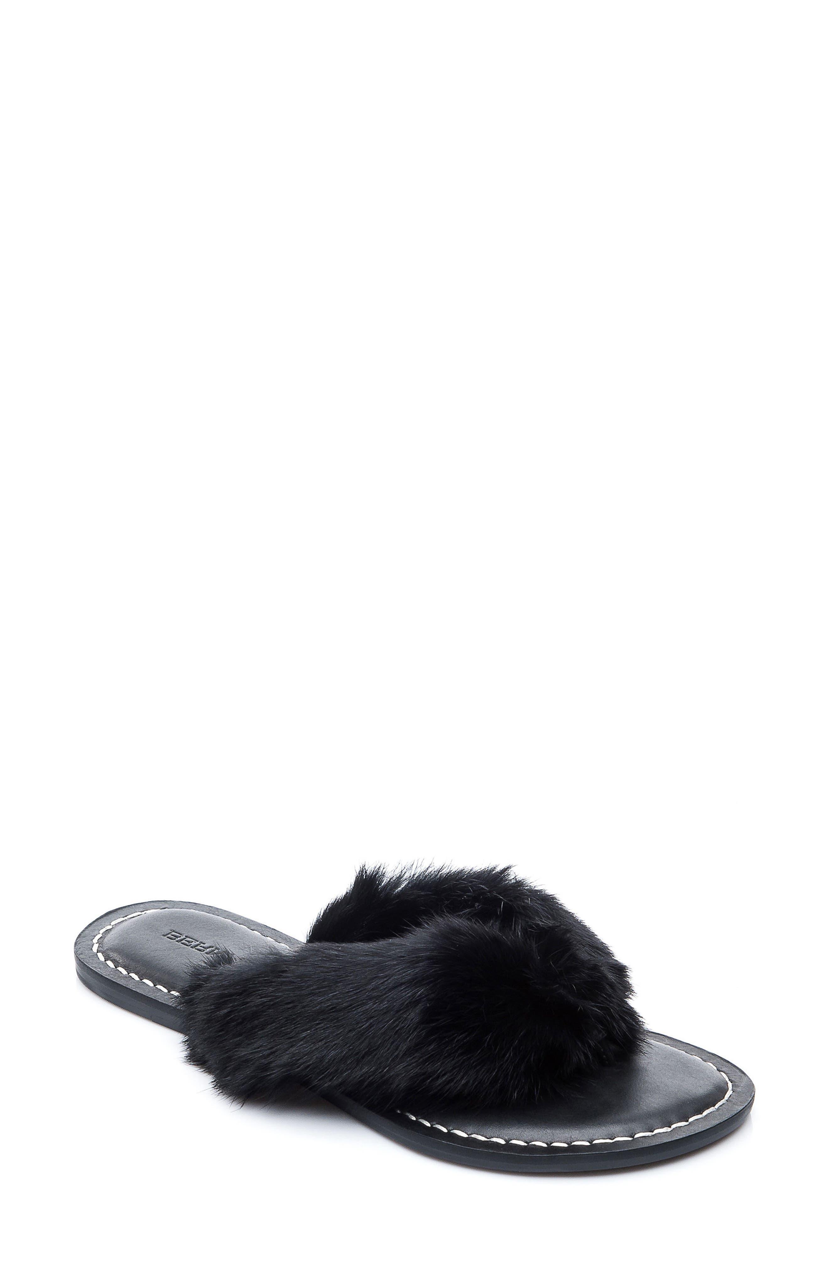 Genuine Rabbit Fur Flip Flop,                             Main thumbnail 1, color,                             001