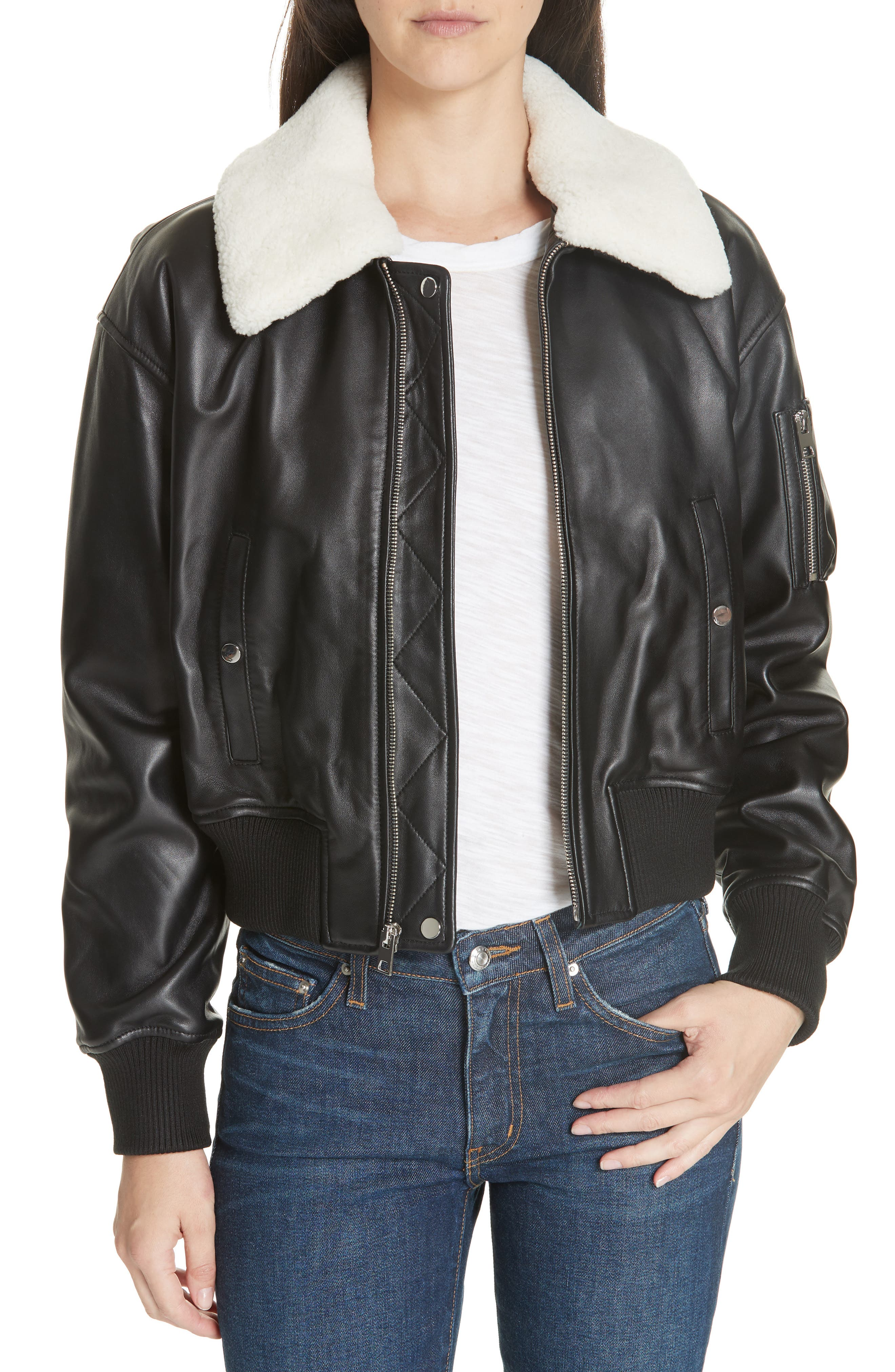DEREK LAM 10 CROSBY Cropped Leather Flight Jacket With Genuine Shearling Removable Trim in Black