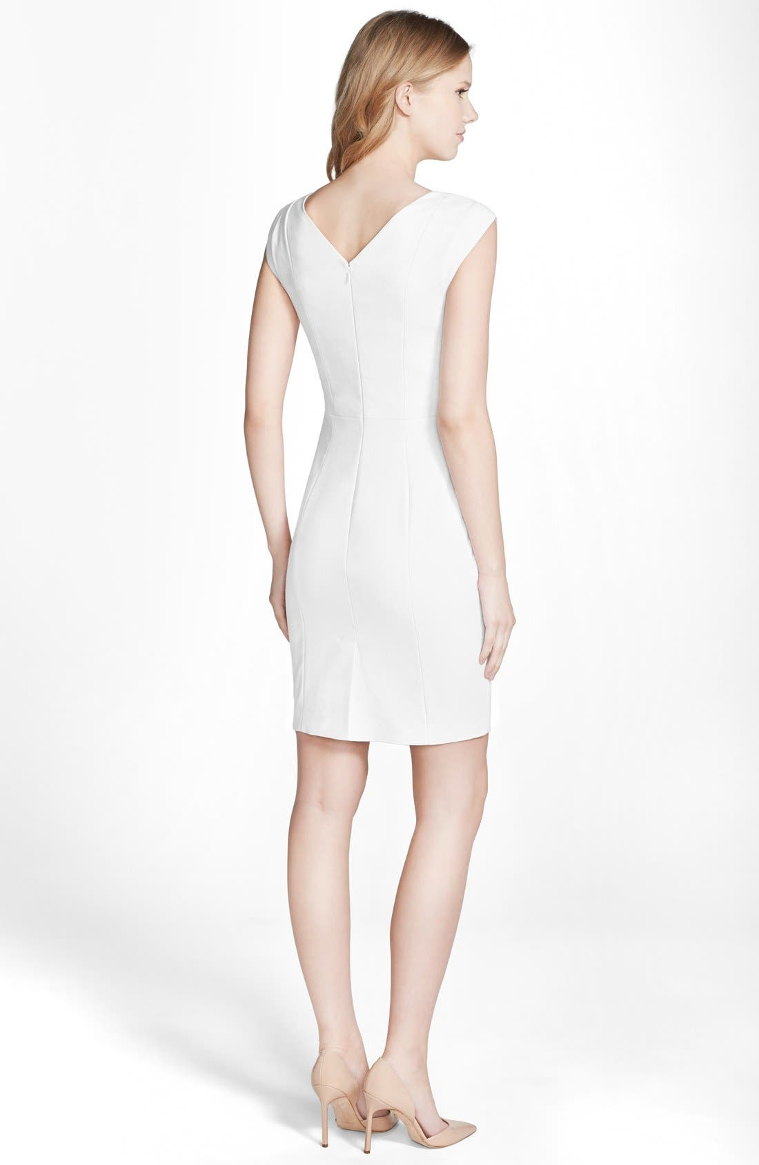'Estelle' Bar Front Sheath Dress,                             Alternate thumbnail 8, color,                             100