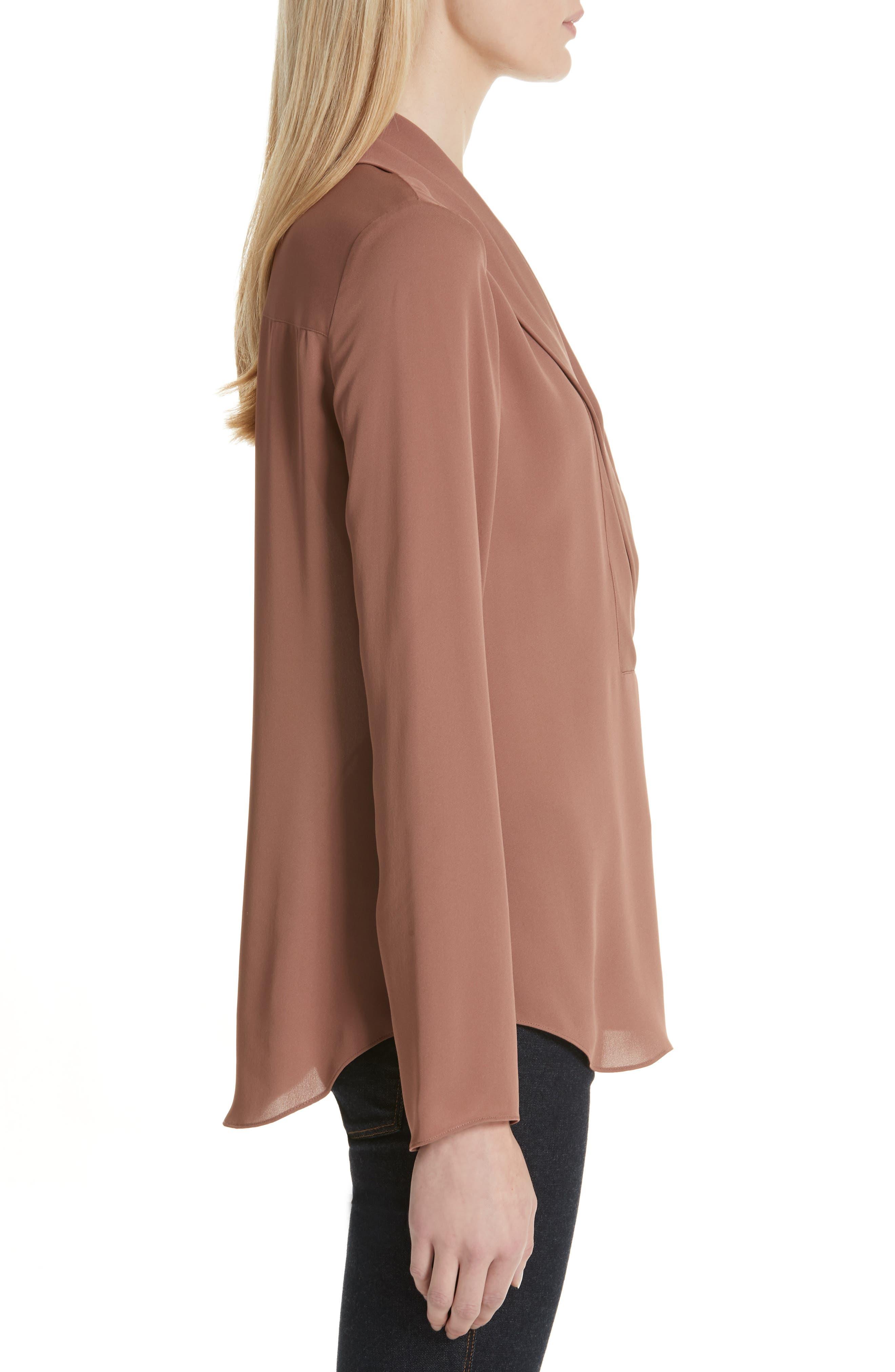 Shawl Collar Silk Blouse,                             Alternate thumbnail 3, color,                             600