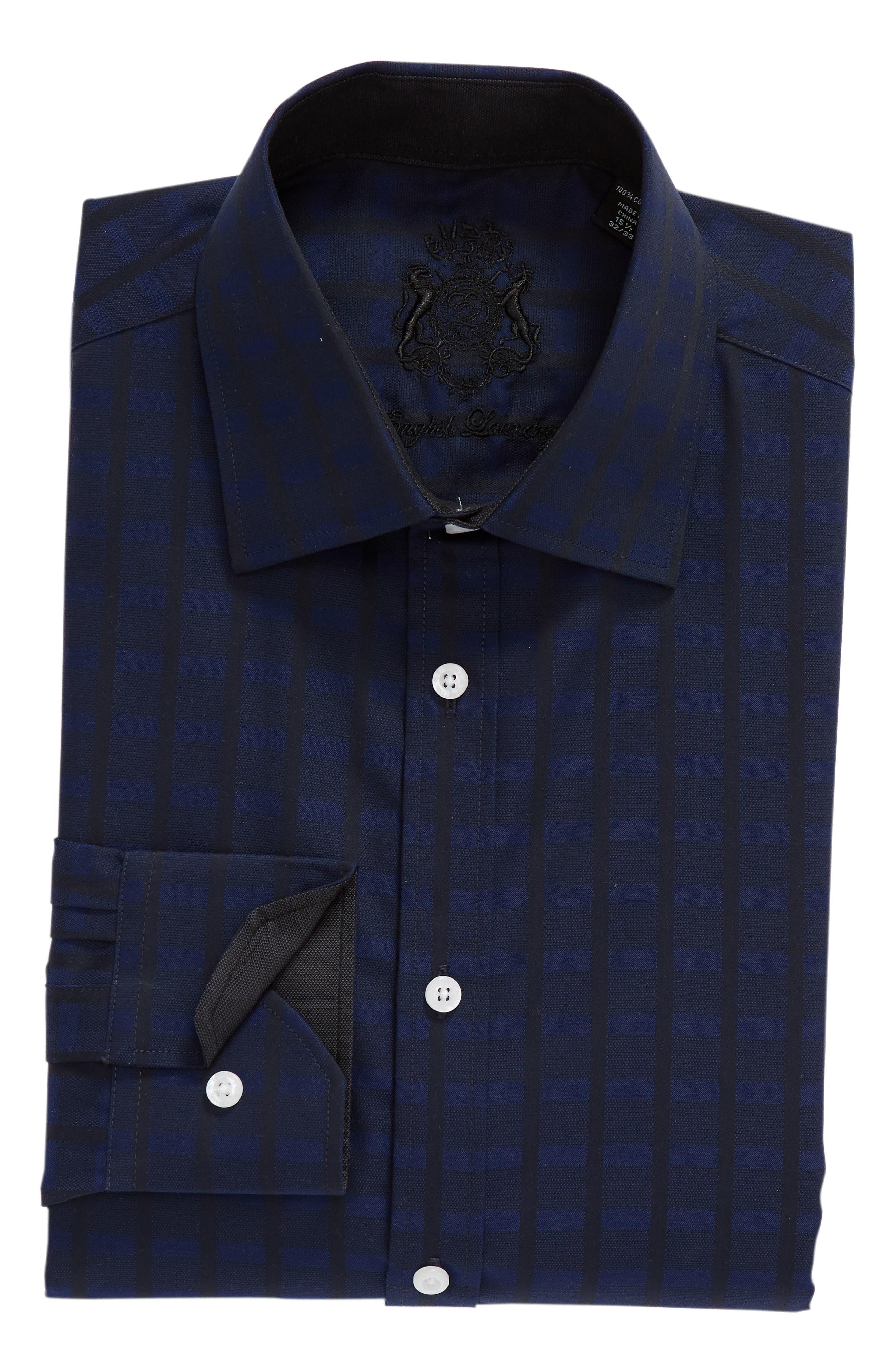 Regular Fit Check Dress Shirt,                             Alternate thumbnail 5, color,                             BLUE
