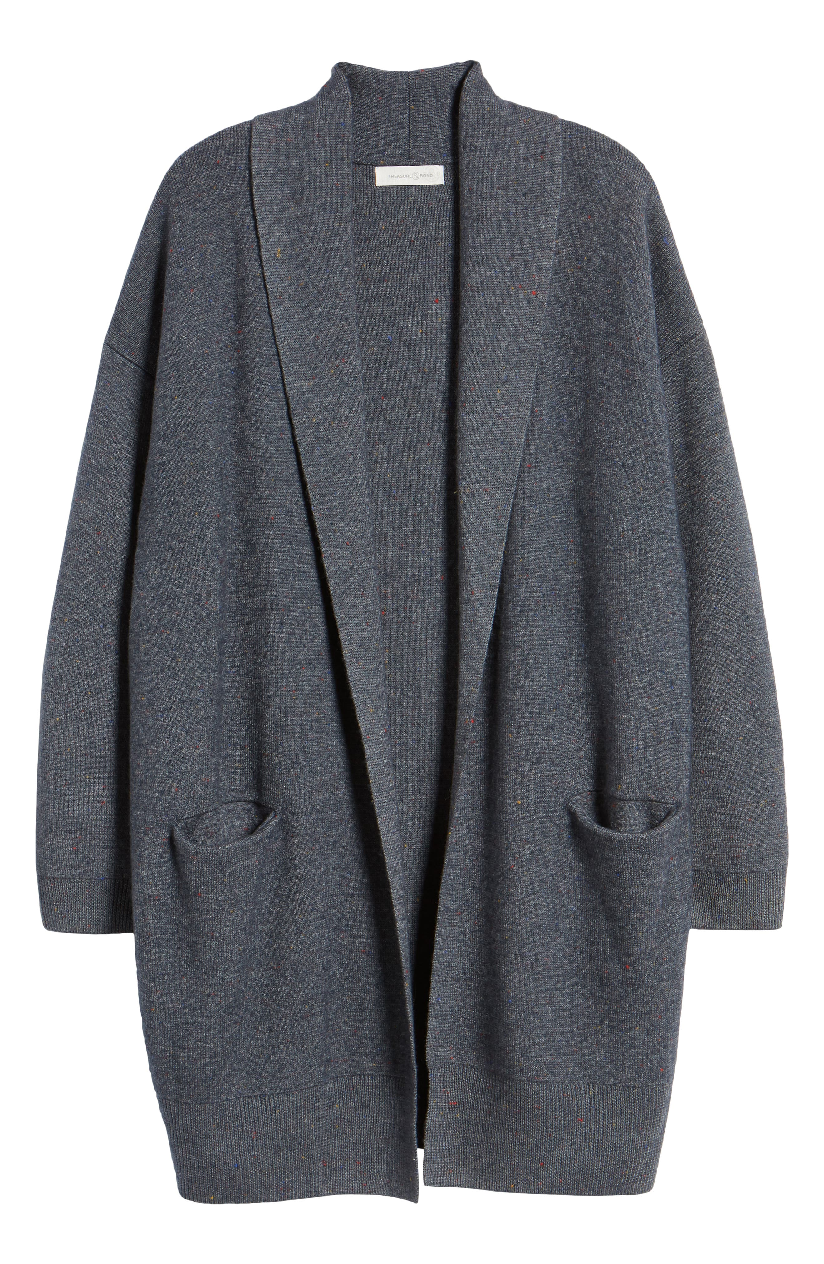 TREASURE & BOND,                             Boiled Wool Blend Long Cardigan,                             Alternate thumbnail 6, color,                             030