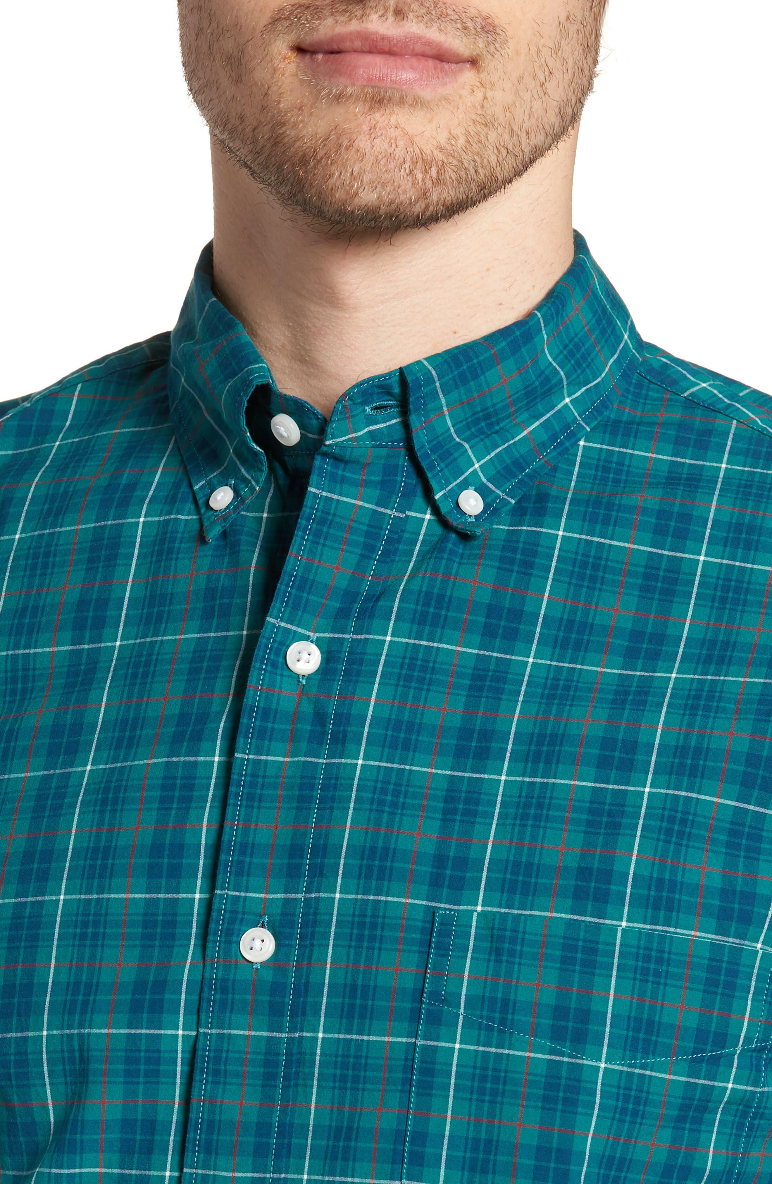 Slim Fit Stretch Secret Wash Plaid Sport Shirt,                             Alternate thumbnail 4, color,