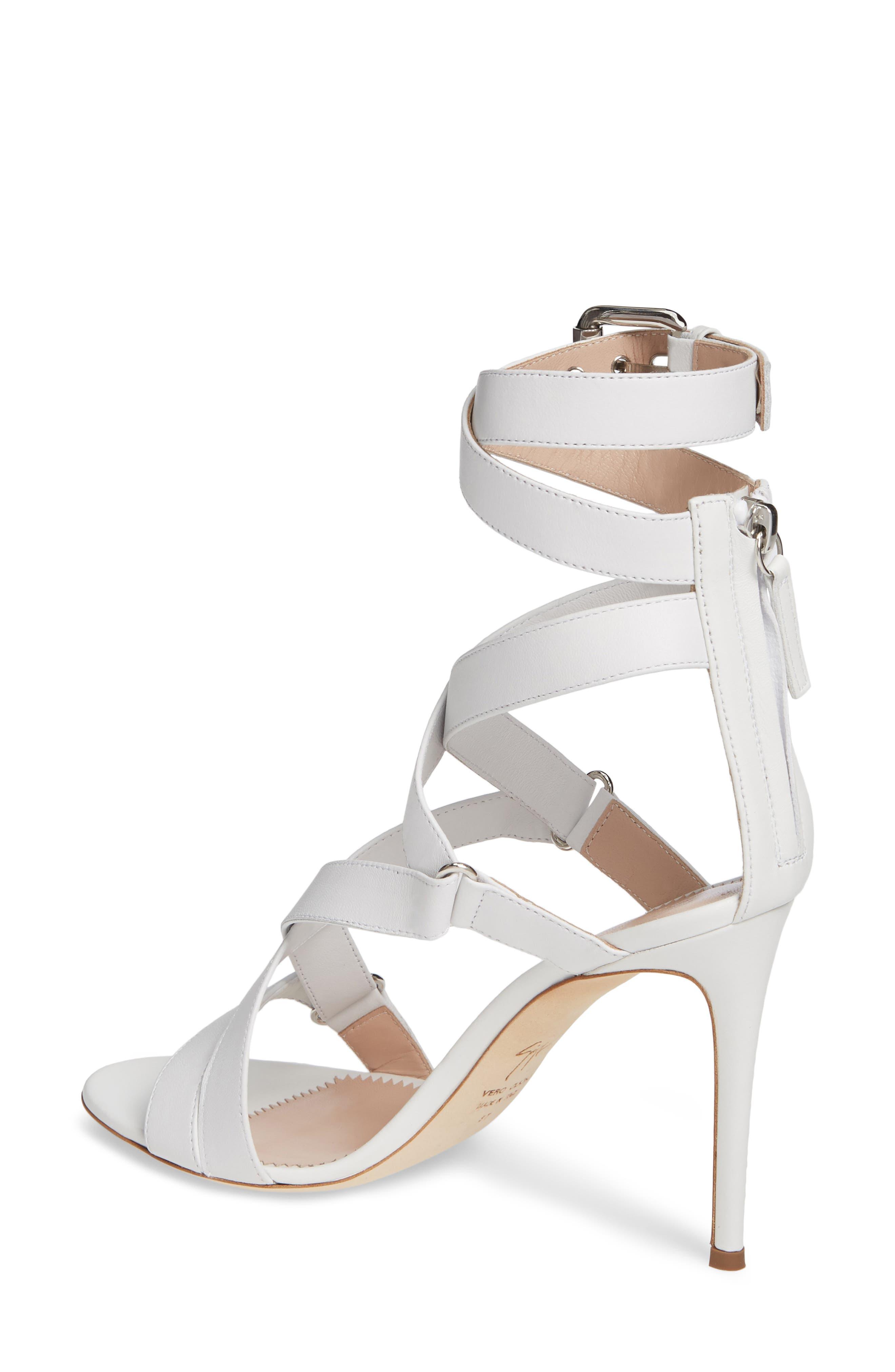 GIUSEPPE ZANOTTI,                             Wrap Sandal,                             Alternate thumbnail 2, color,                             WHITE