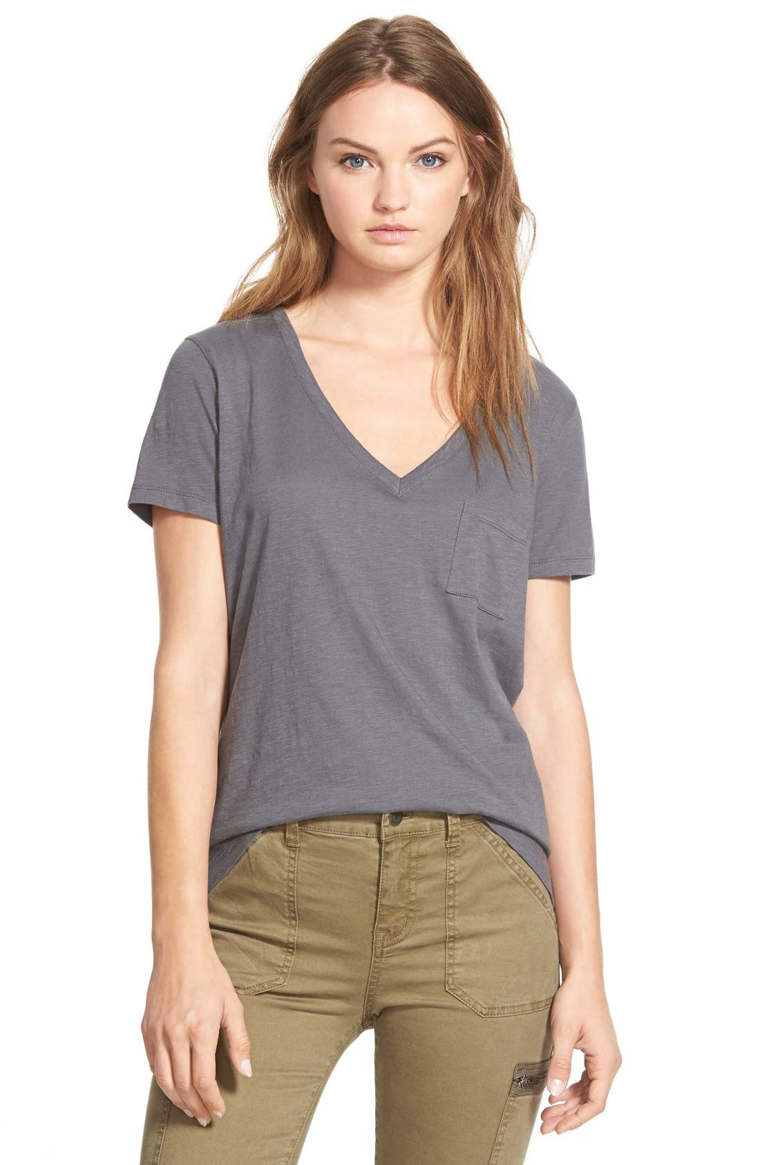 Whisper Cotton V-Neck Pocket Tee,                             Main thumbnail 7, color,