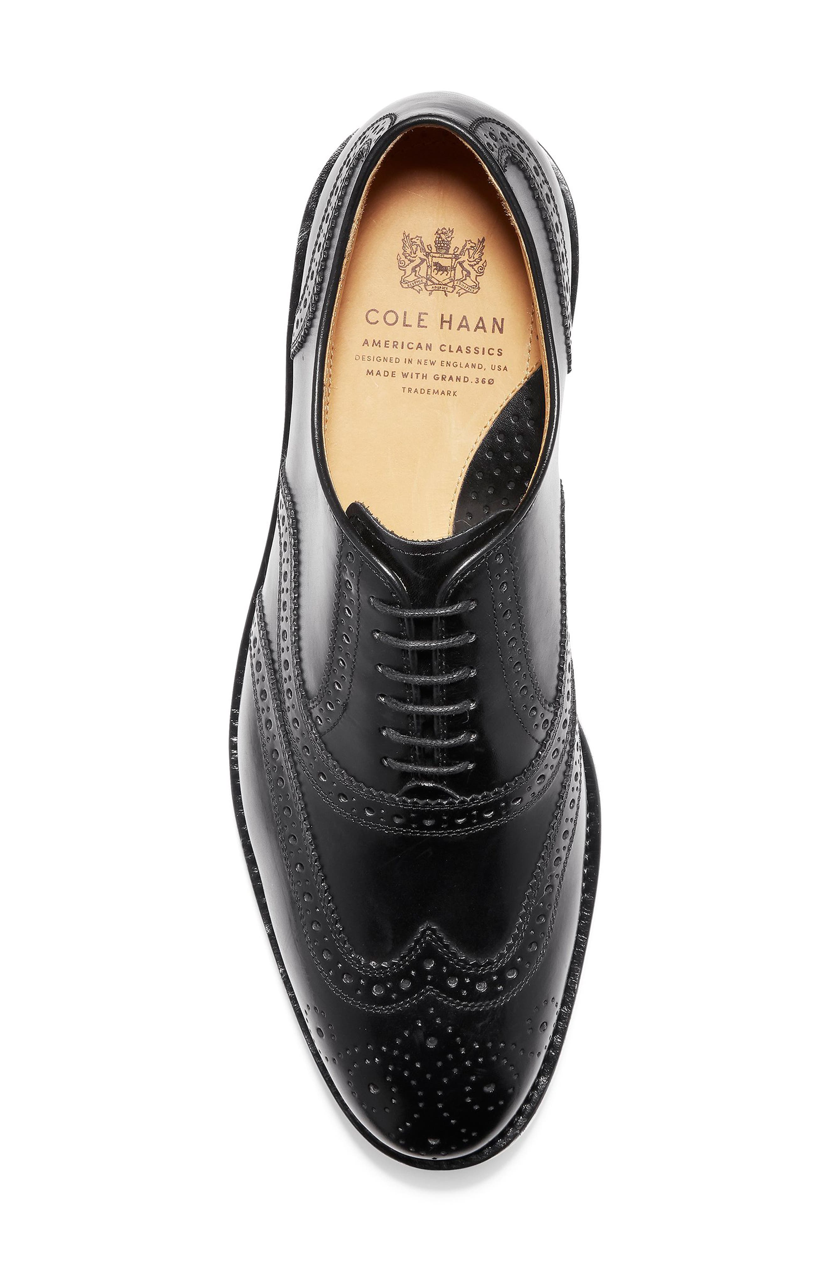 American Classics Kneeland Wingtip,                             Alternate thumbnail 5, color,                             BLACK LEATHER