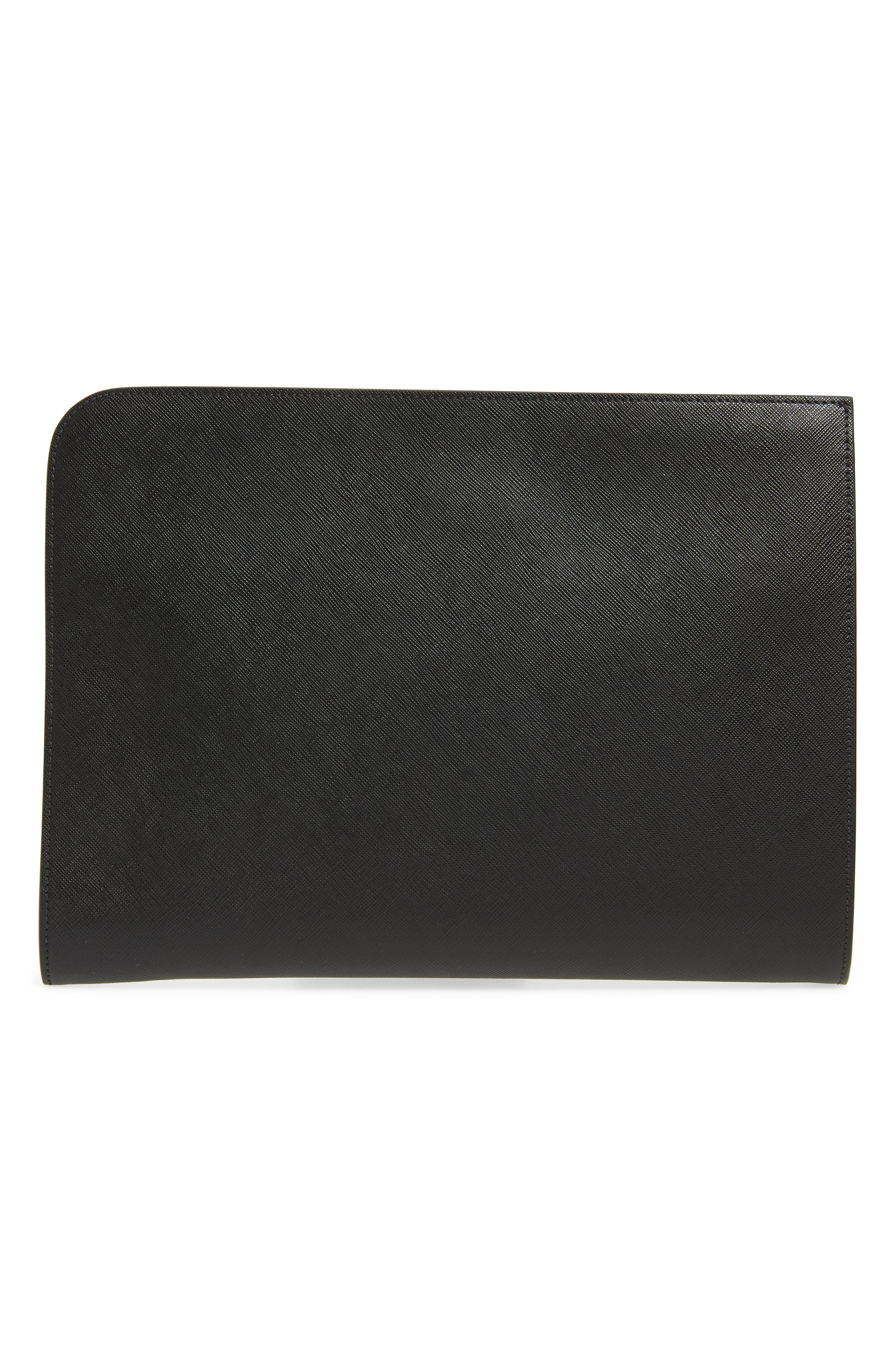 Saffiano Leather Zip Folio,                             Alternate thumbnail 2, color,                             BLACK