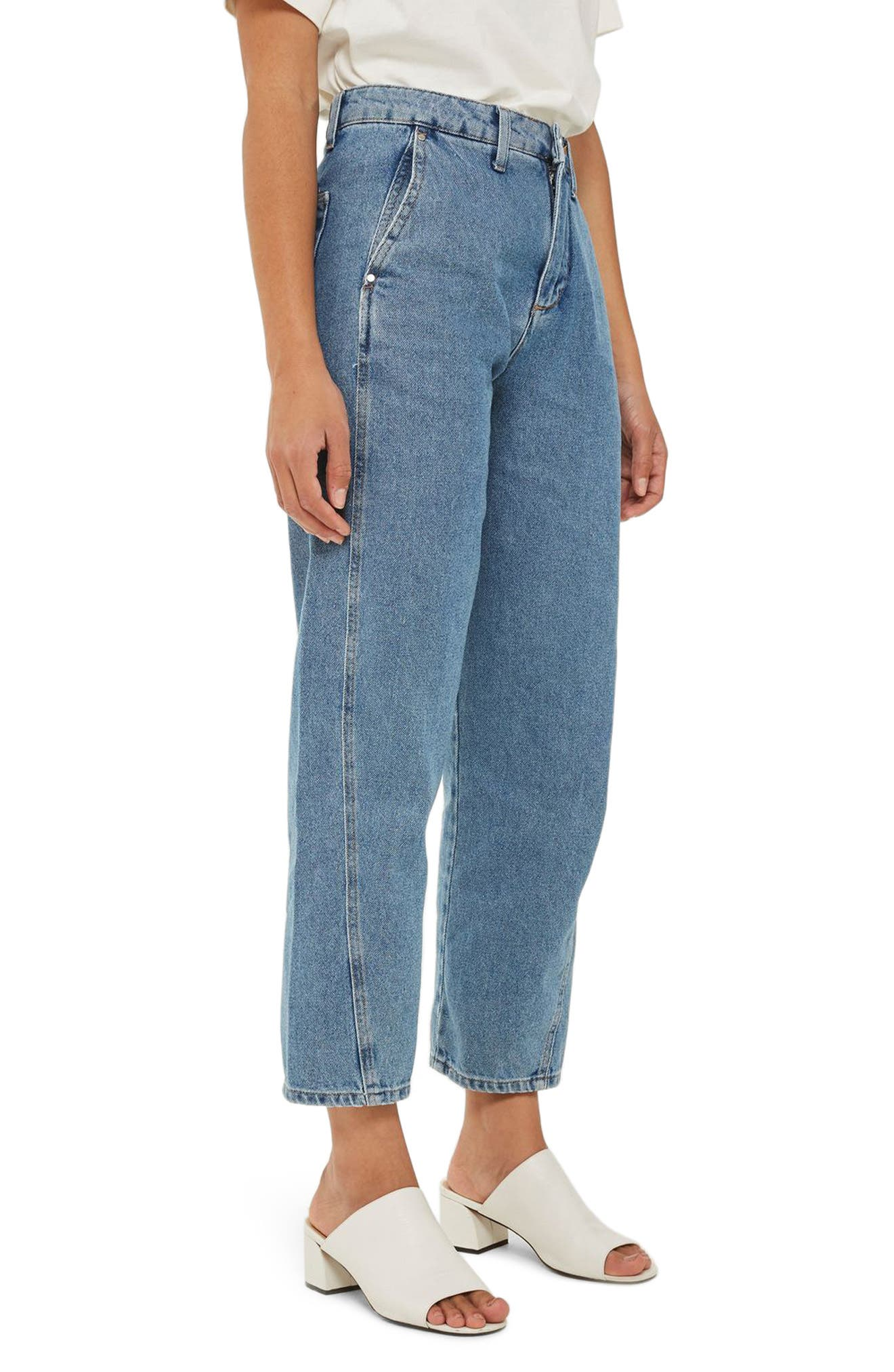 Displaced Seam Boyfriend Jeans,                             Alternate thumbnail 3, color,                             400