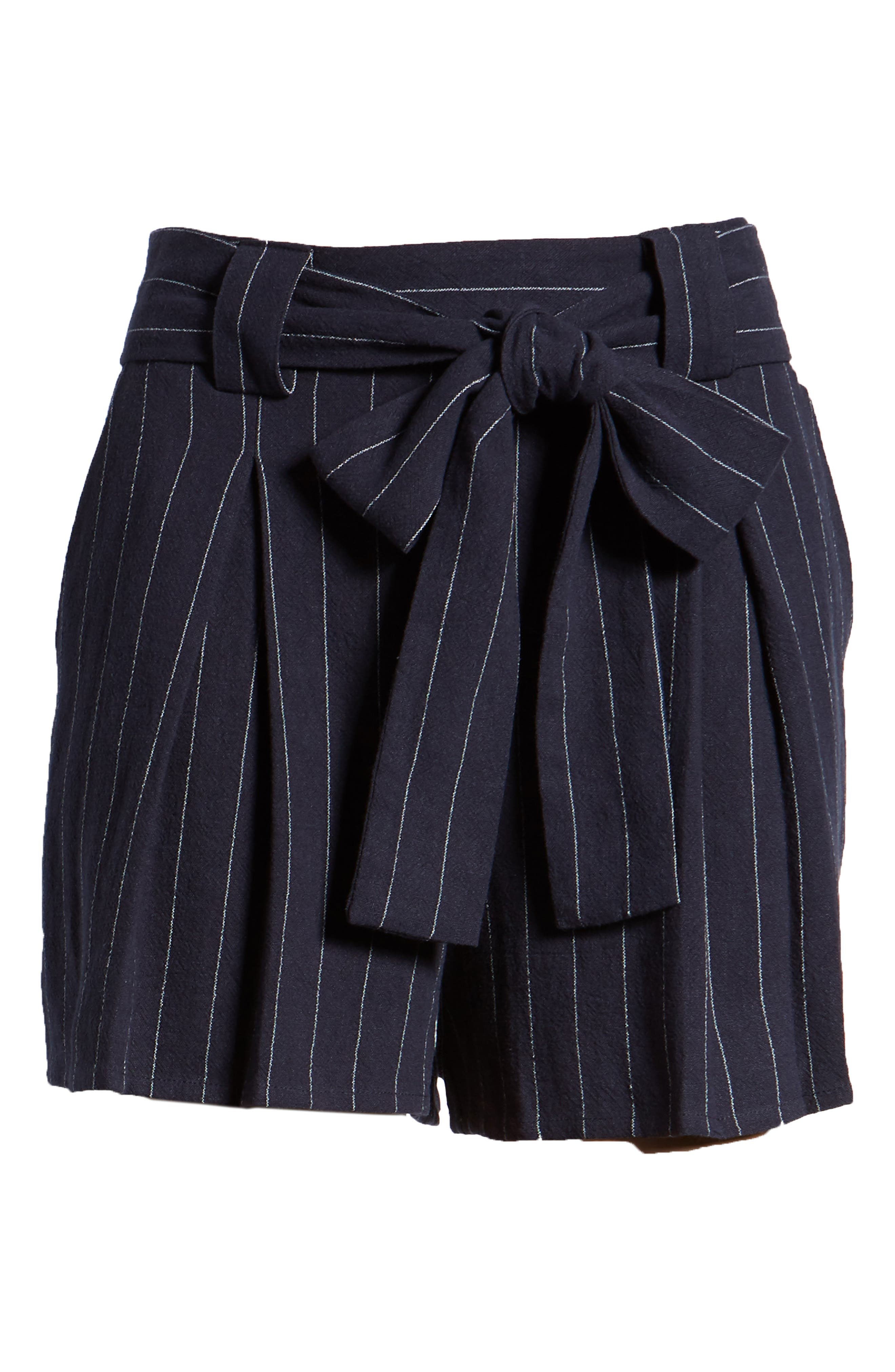Stripe Tie Waist Shorts,                             Alternate thumbnail 6, color,                             BLUE STRIPE