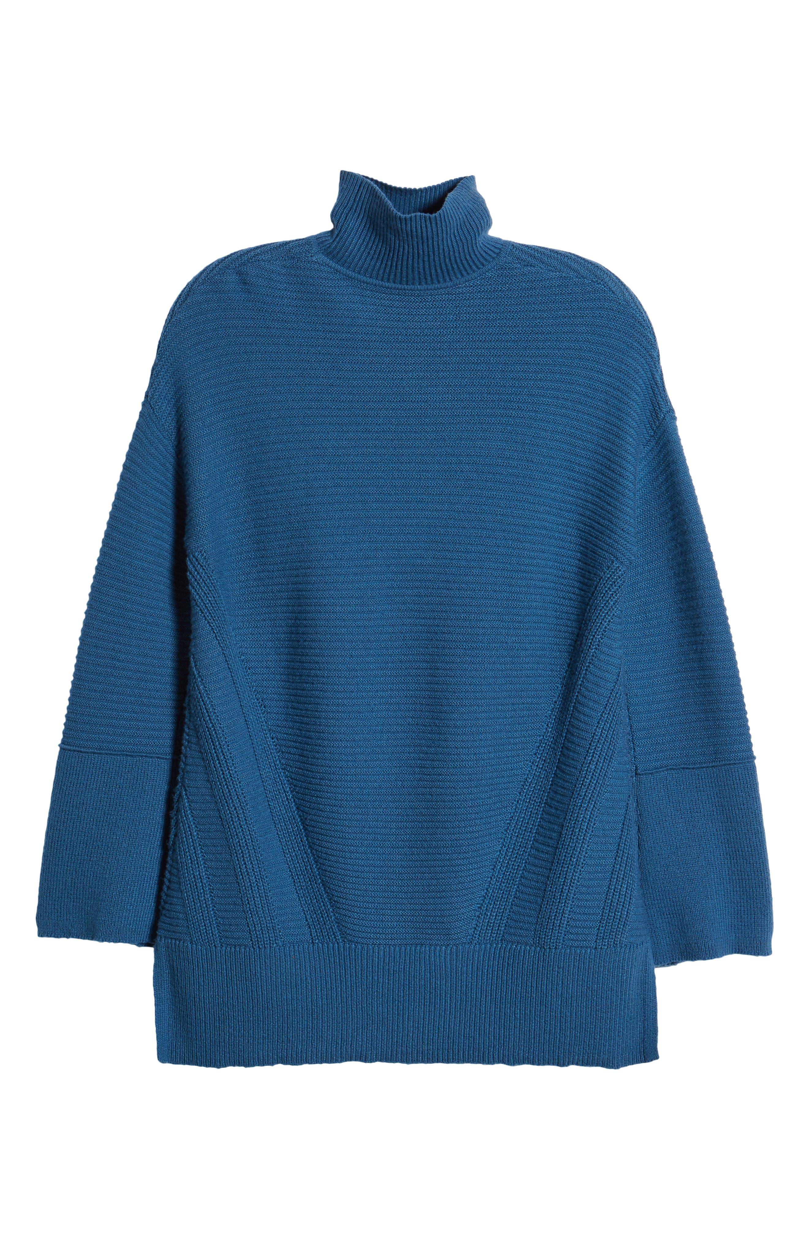 Ribbed Turtleneck Tunic Sweater,                             Alternate thumbnail 7, color,                             BLUE DARK