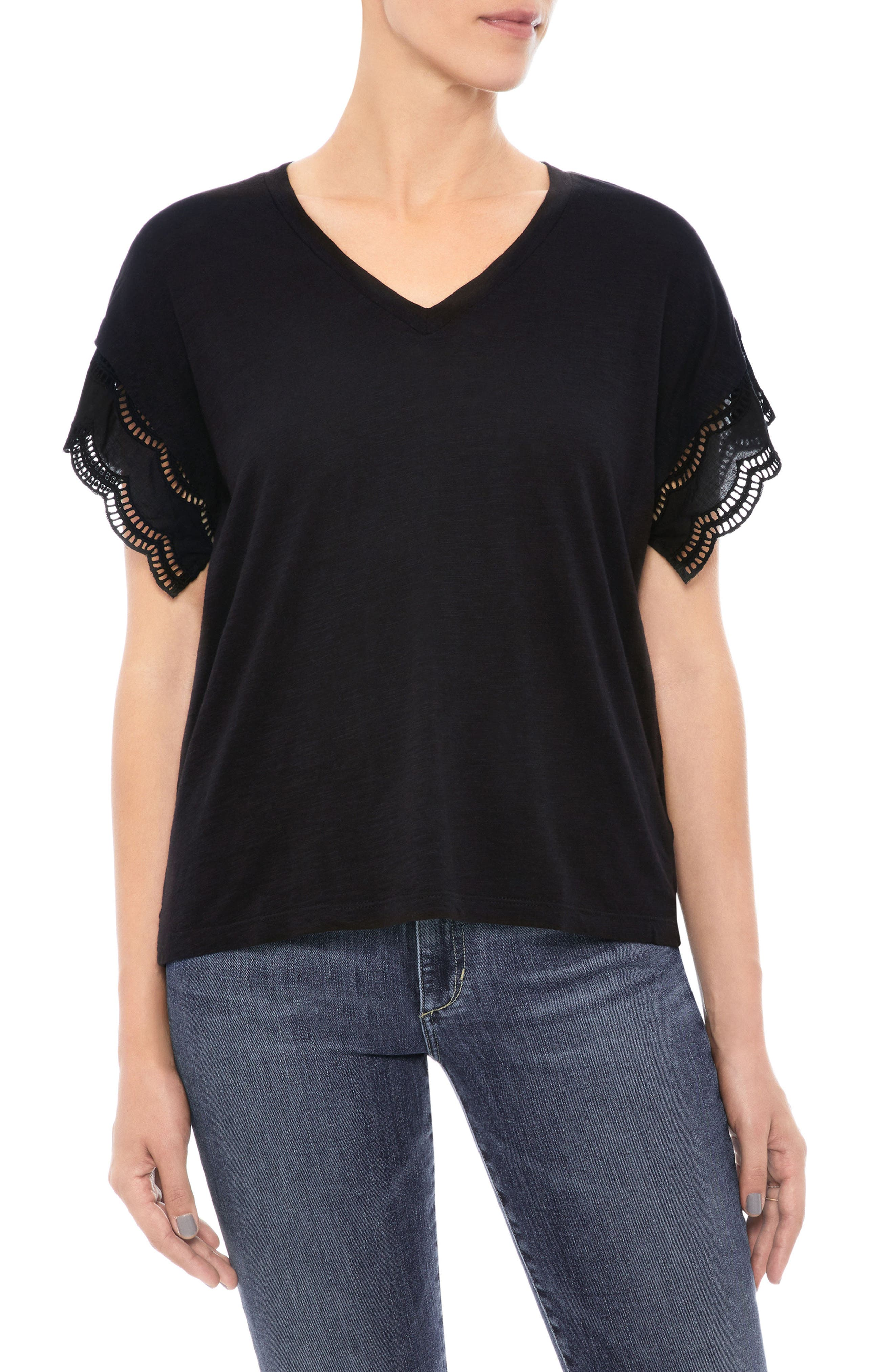 Millie Eyelet Trim Tee,                             Main thumbnail 1, color,