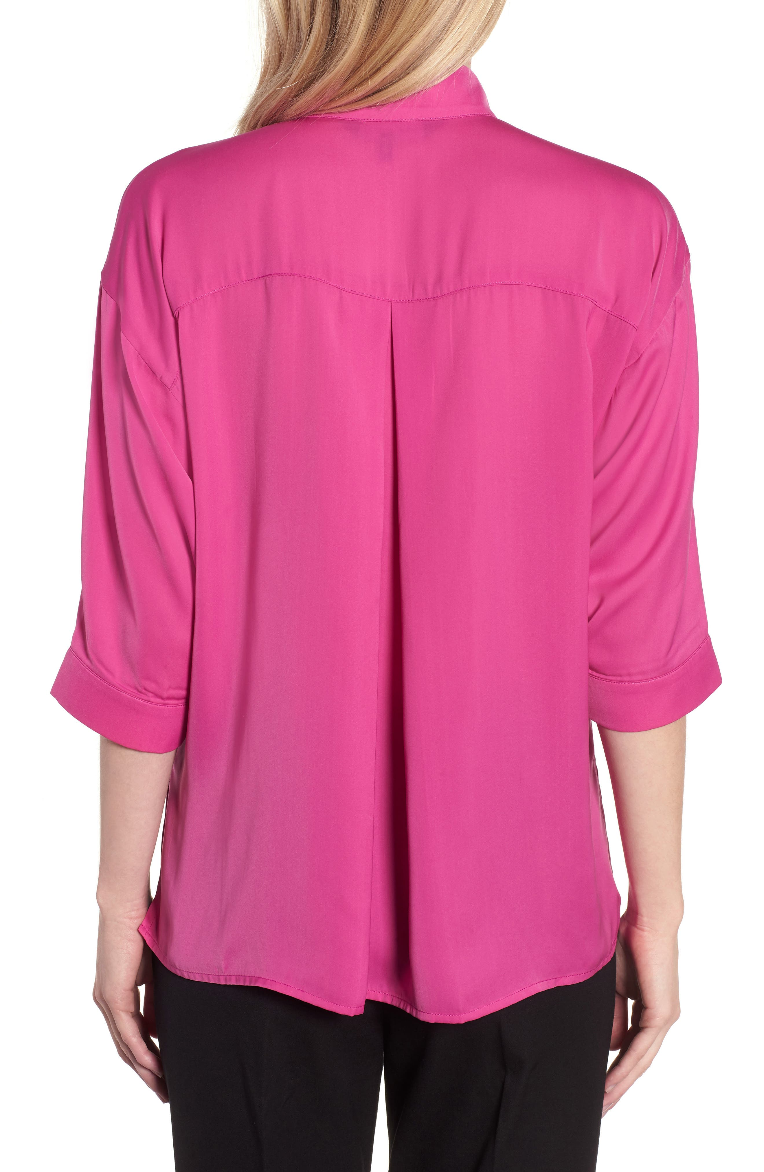 Split Neck Blouse,                             Alternate thumbnail 2, color,                             HIBISCUS