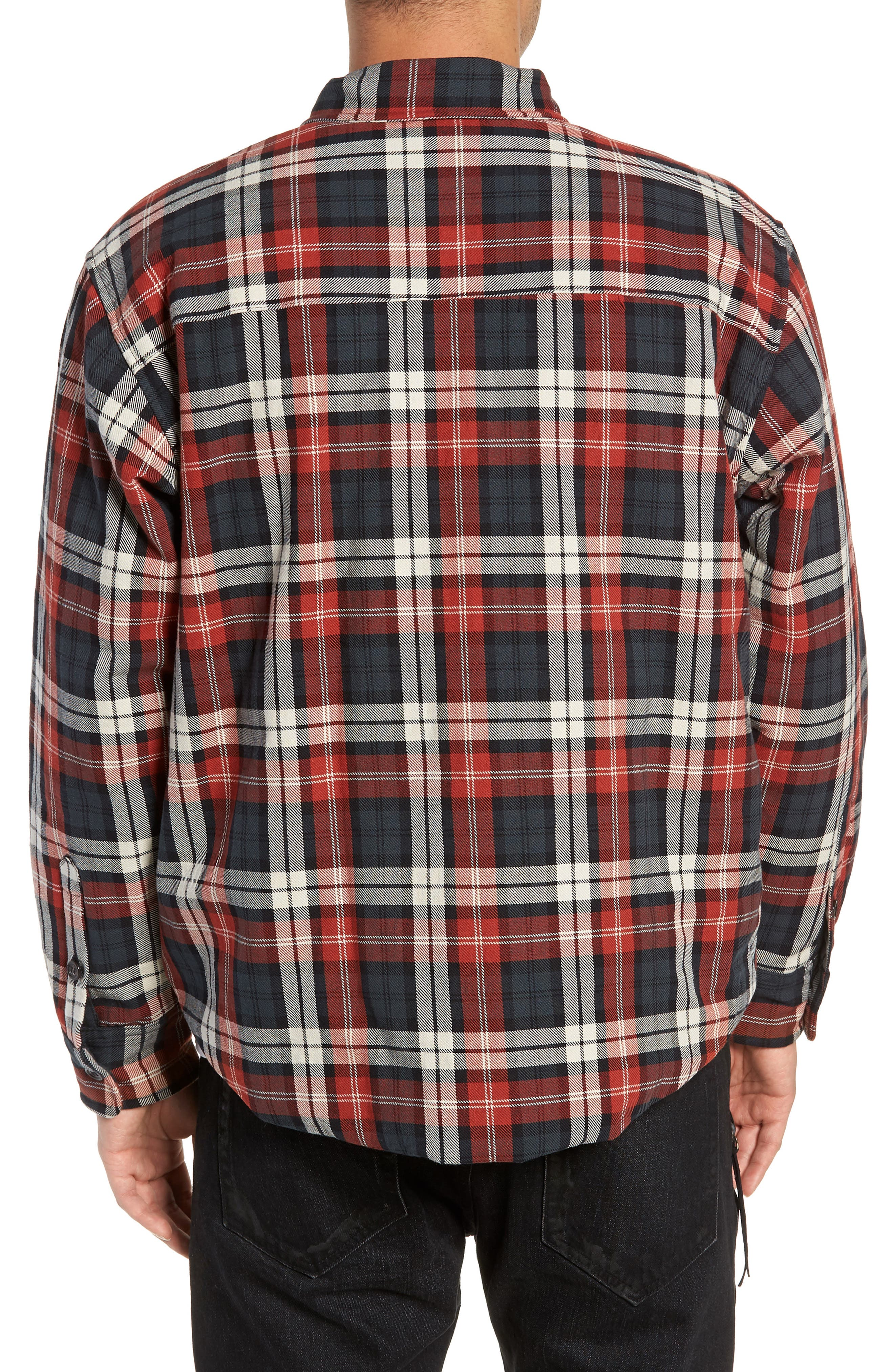 Puffy Classic Fit Work Shirt,                             Alternate thumbnail 2, color,                             RED PLAID
