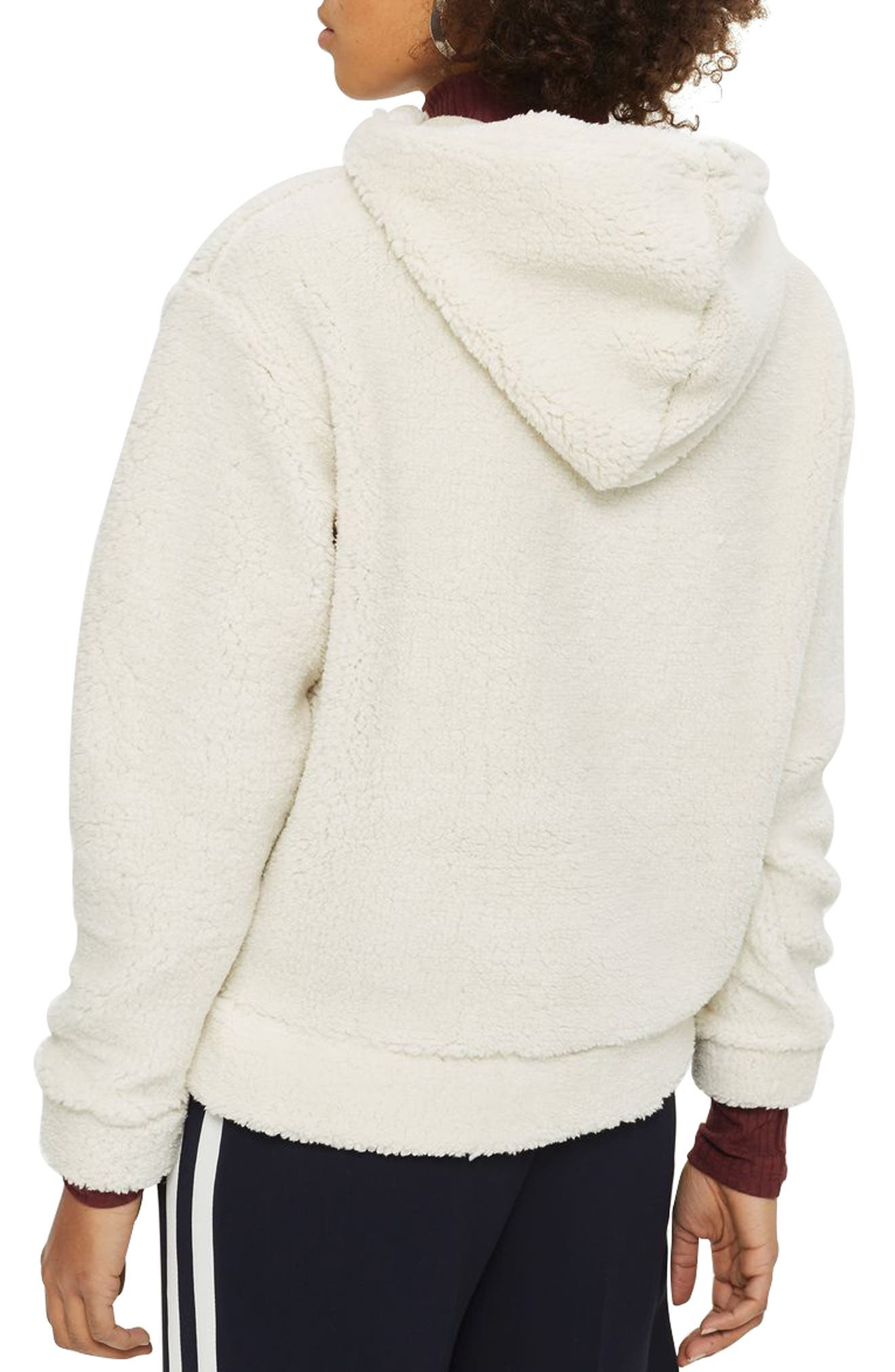 TOPSHOP,                             Fleece Quarter-Zip Hoodie,                             Alternate thumbnail 2, color,                             900