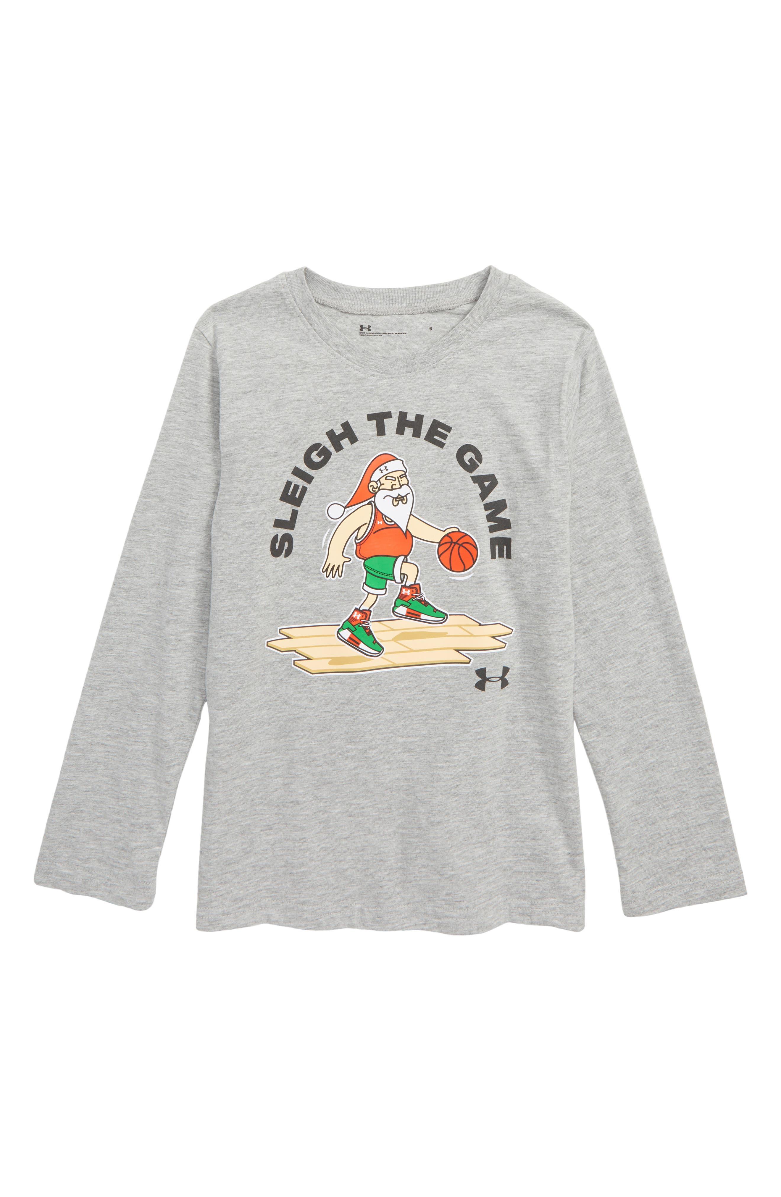 Basketball Santa Graphic T-Shirt,                             Main thumbnail 1, color,                             GREY
