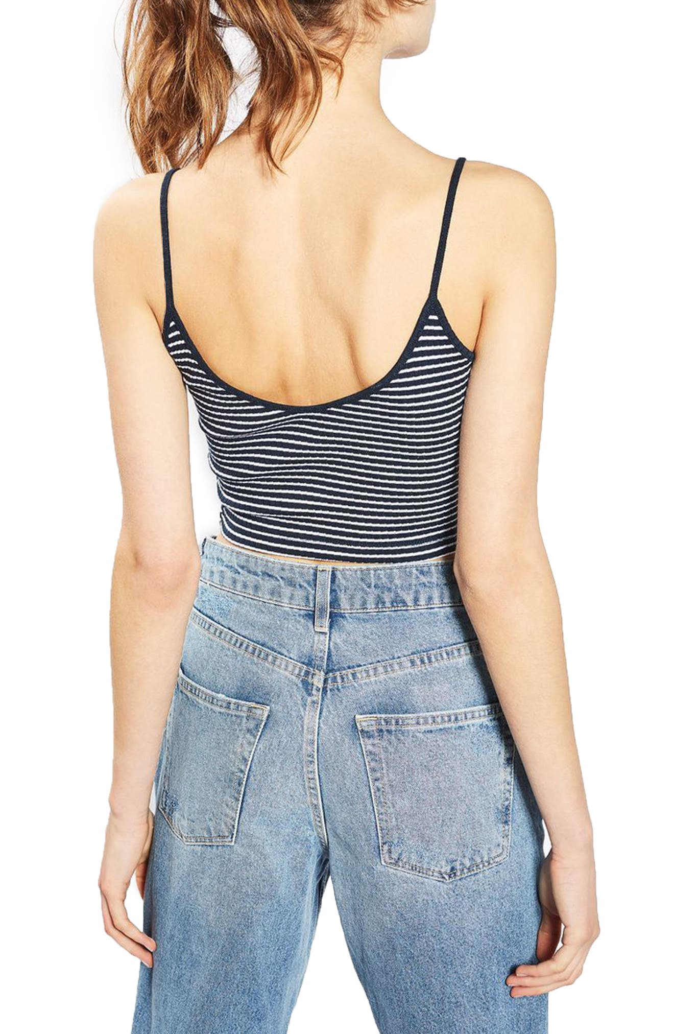 Kaia Stripe Crop Camisole,                             Alternate thumbnail 4, color,