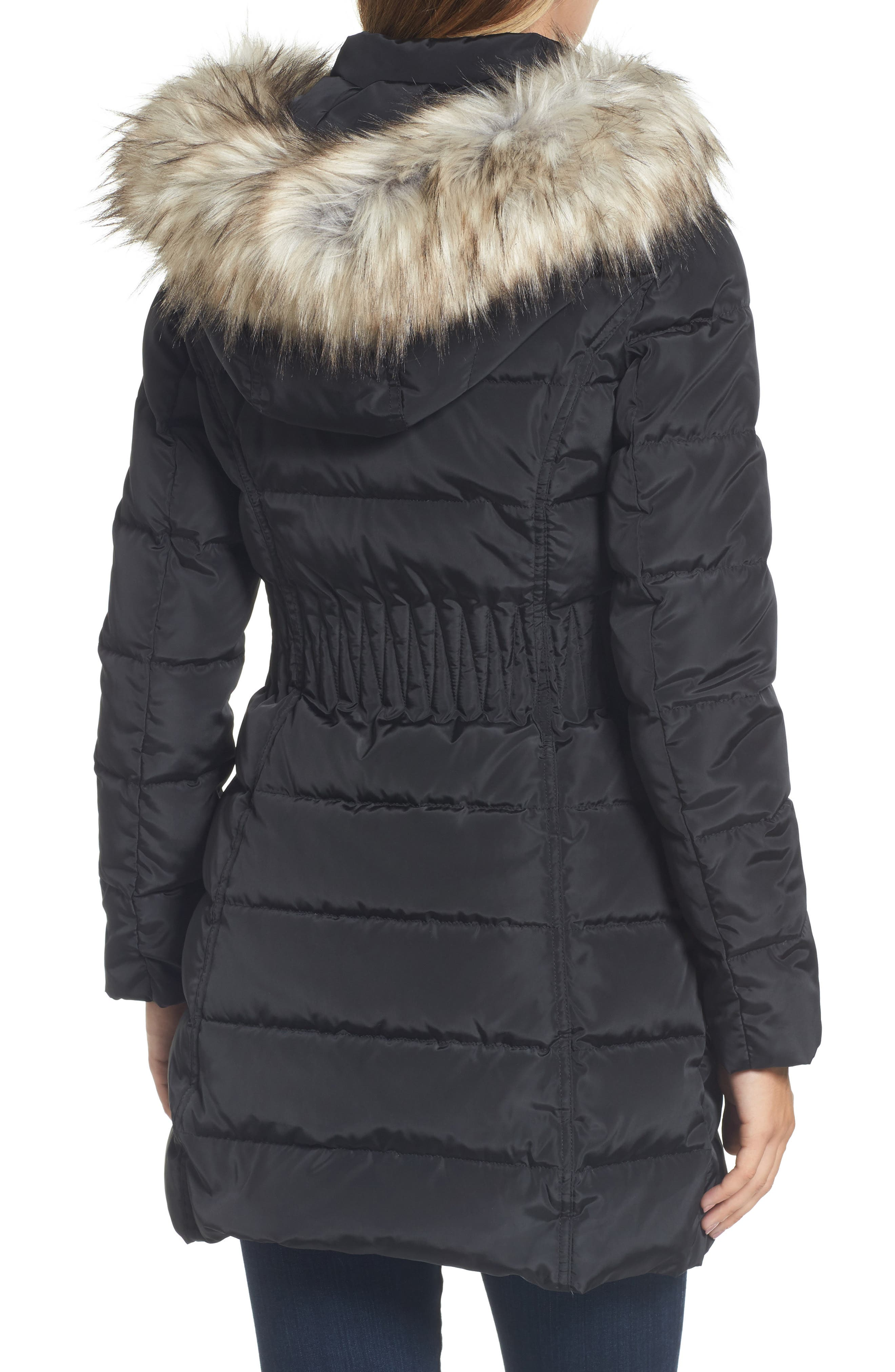 Hooded Quilted Jacket with Faux Fur Trim,                             Alternate thumbnail 2, color,                             001