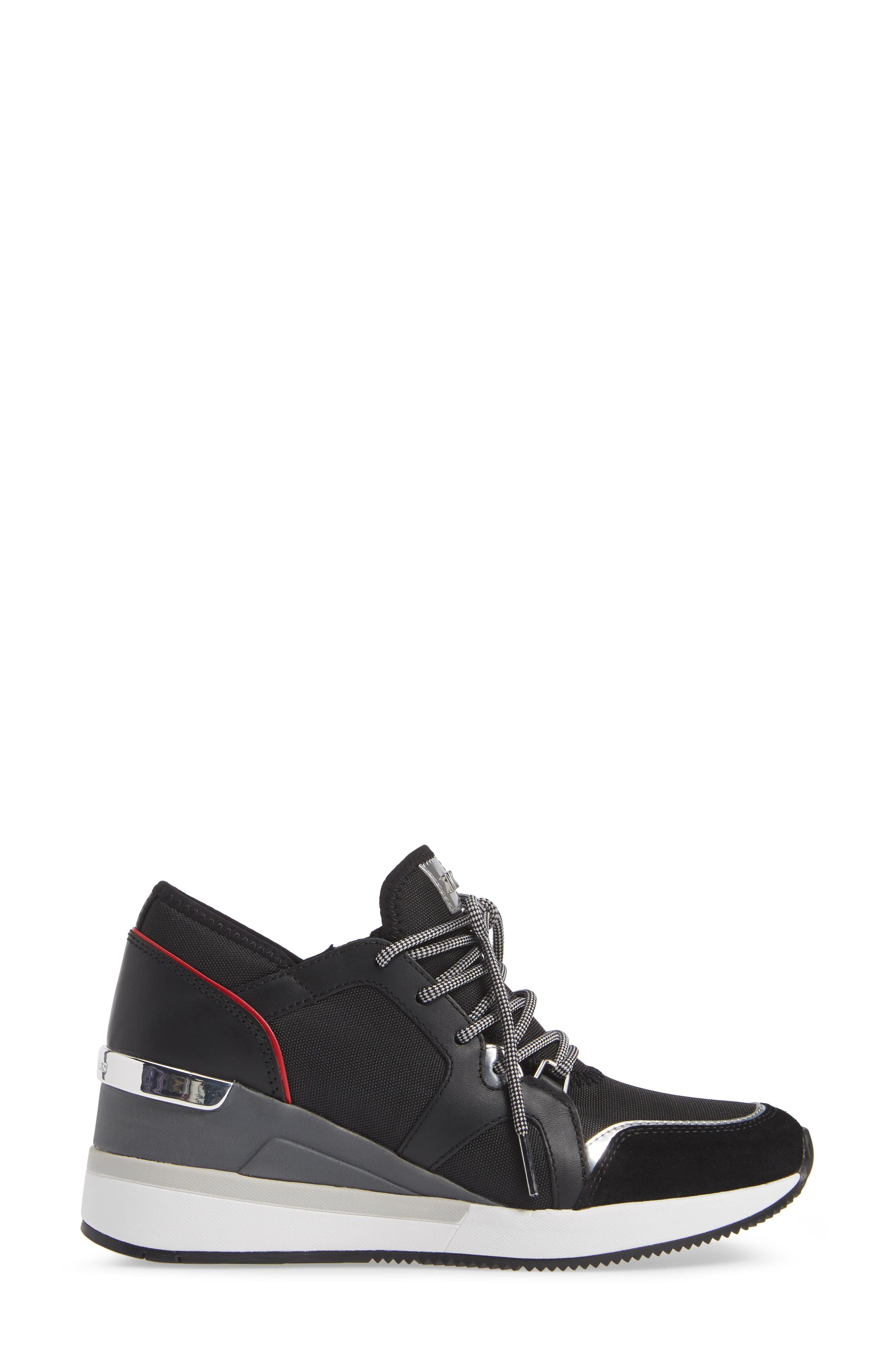Scout Trainer Wedge Sneaker,                             Alternate thumbnail 3, color,                             001