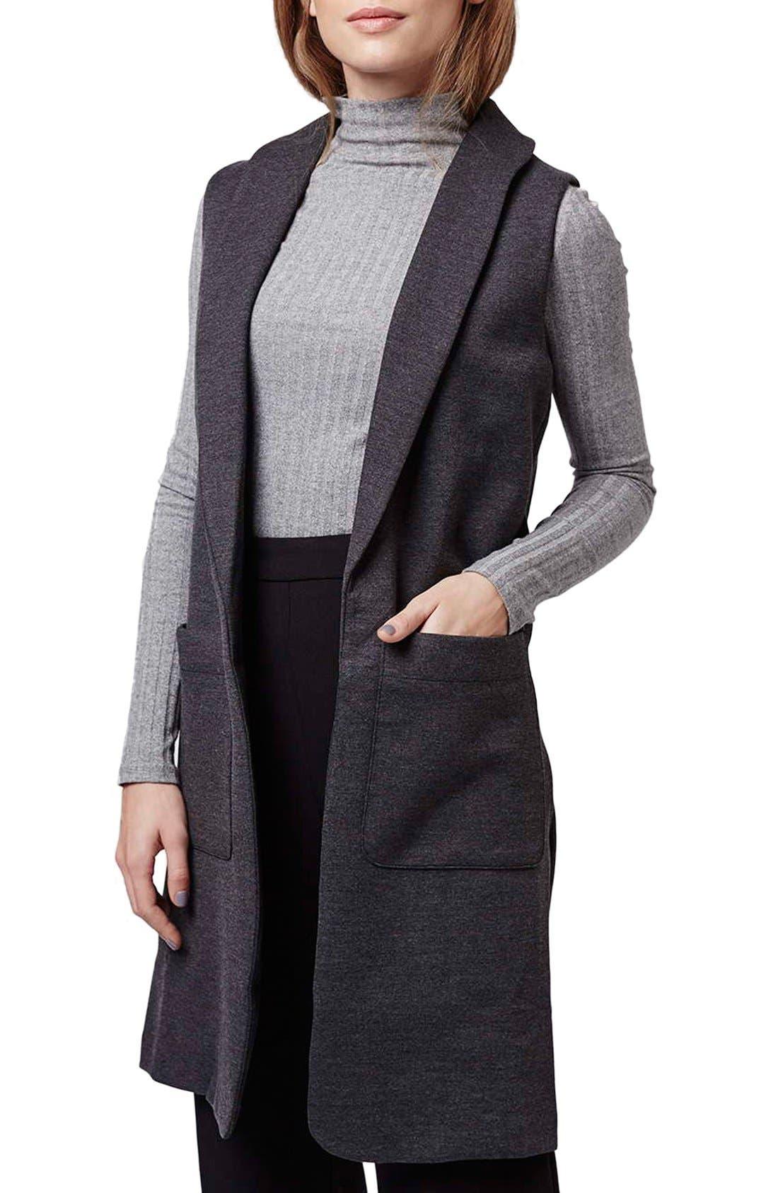 Shawl Collar Longline Vest,                         Main,                         color, 021