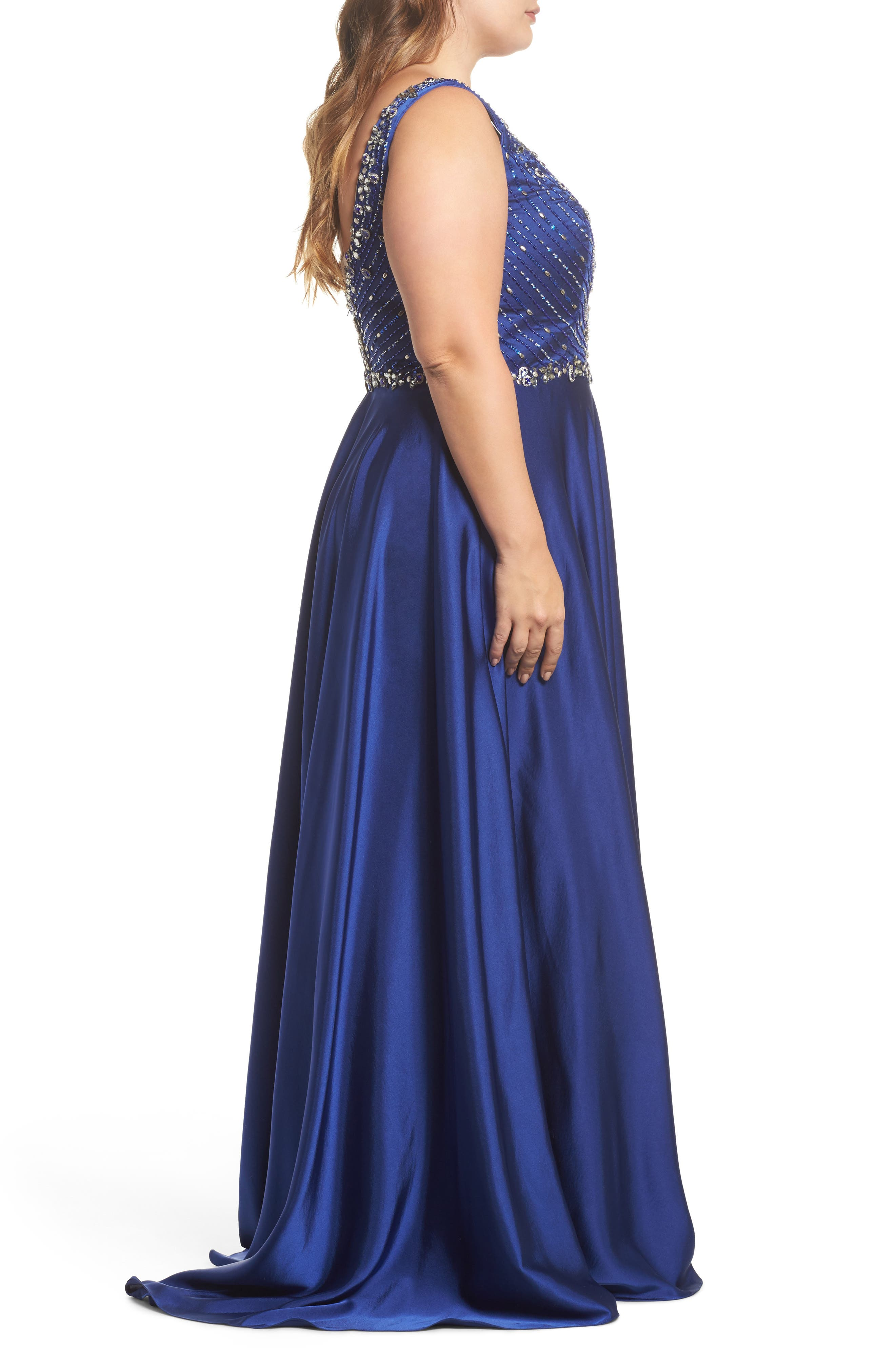 MAC DUGGAL,                             Beaded Bodice Gown,                             Alternate thumbnail 3, color,                             ROYAL