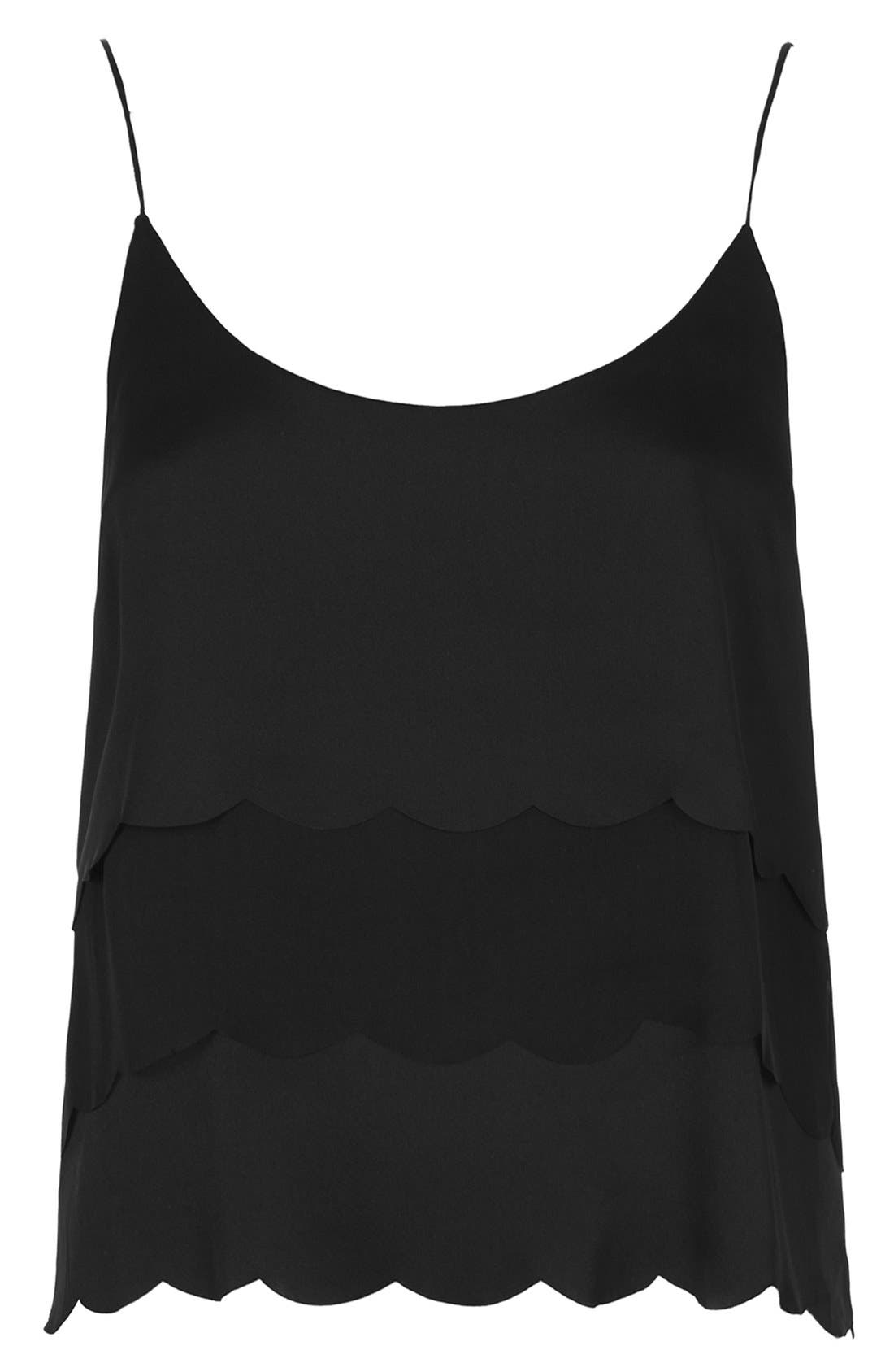 TOPSHOP,                             Kate Moss for Topshop Scalloped Camisole,                             Alternate thumbnail 5, color,                             001