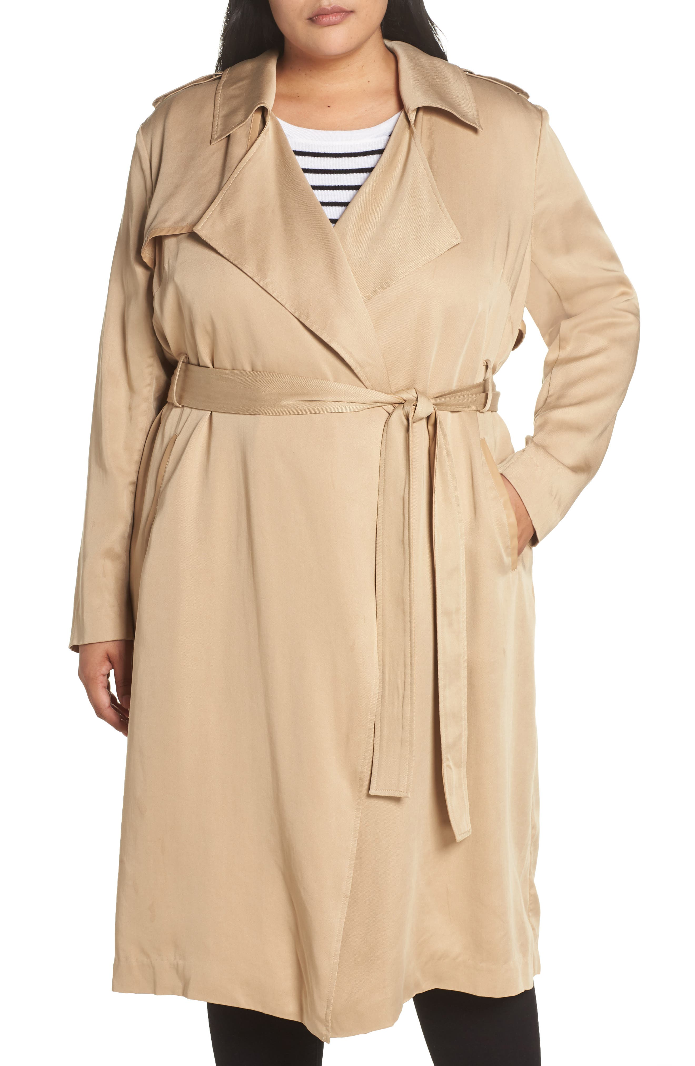 Angelina Trench Coat,                             Alternate thumbnail 4, color,                             SAND