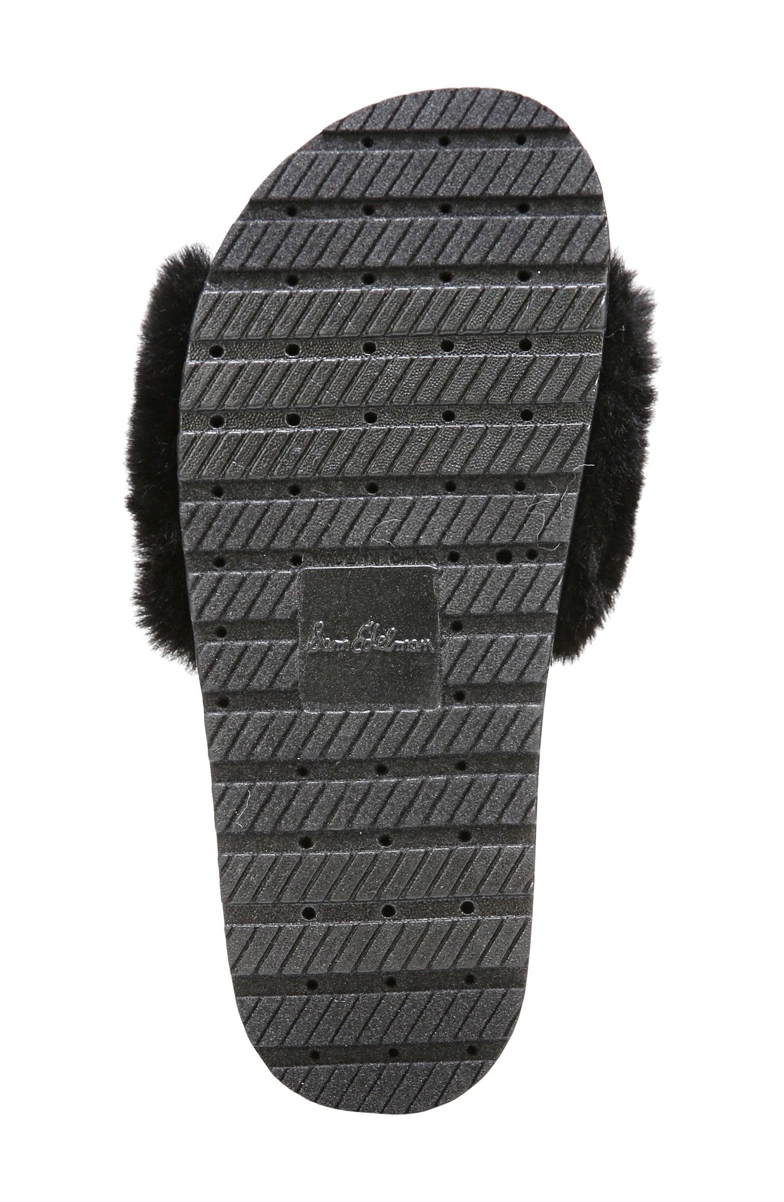 SAM EDELMAN,                             Blaire Faux Fur Platform Slide Sandal,                             Alternate thumbnail 6, color,                             001