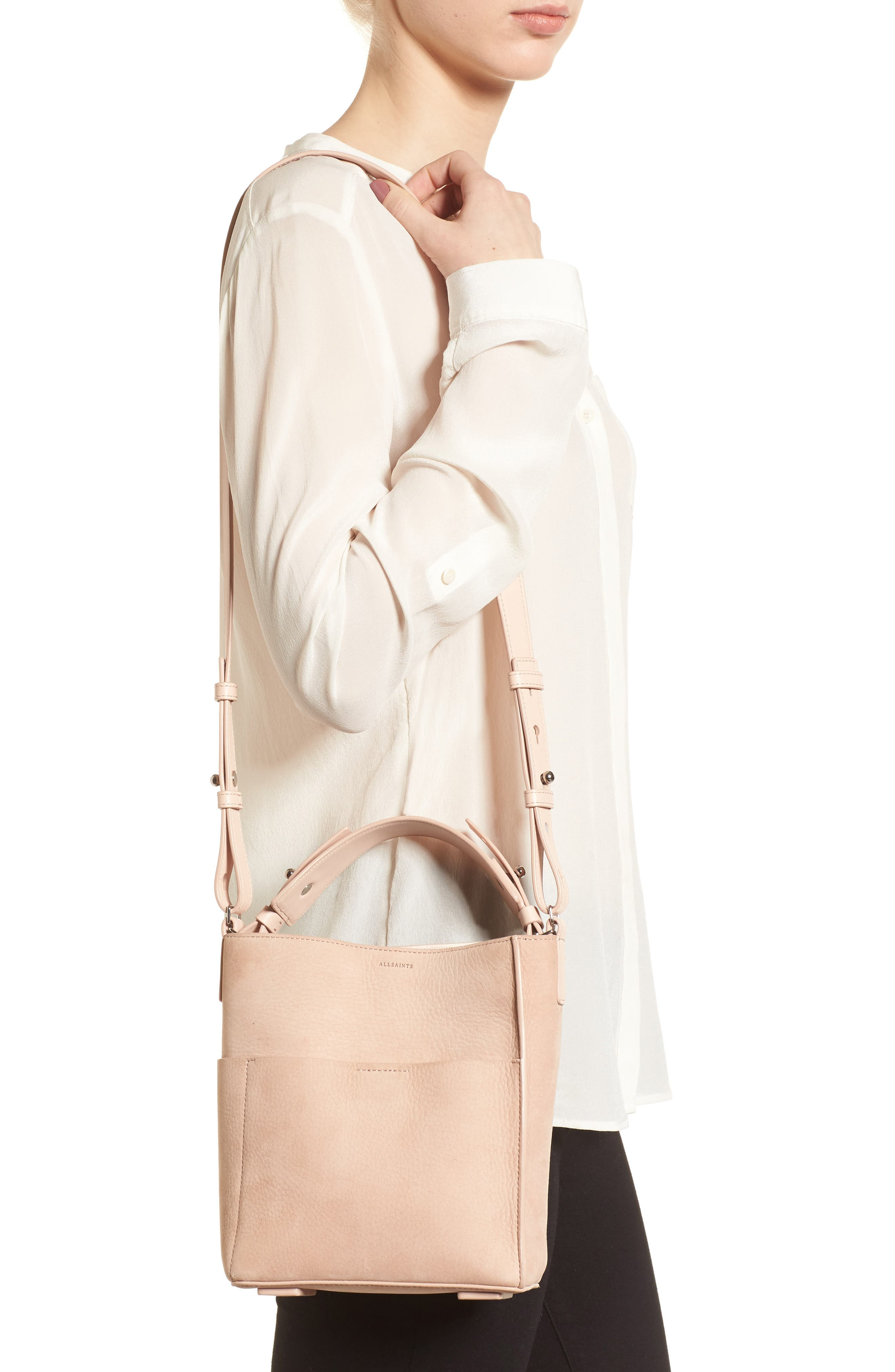 Mini Mast Leather North/South Tote,                             Alternate thumbnail 2, color,                             NUDE PINK