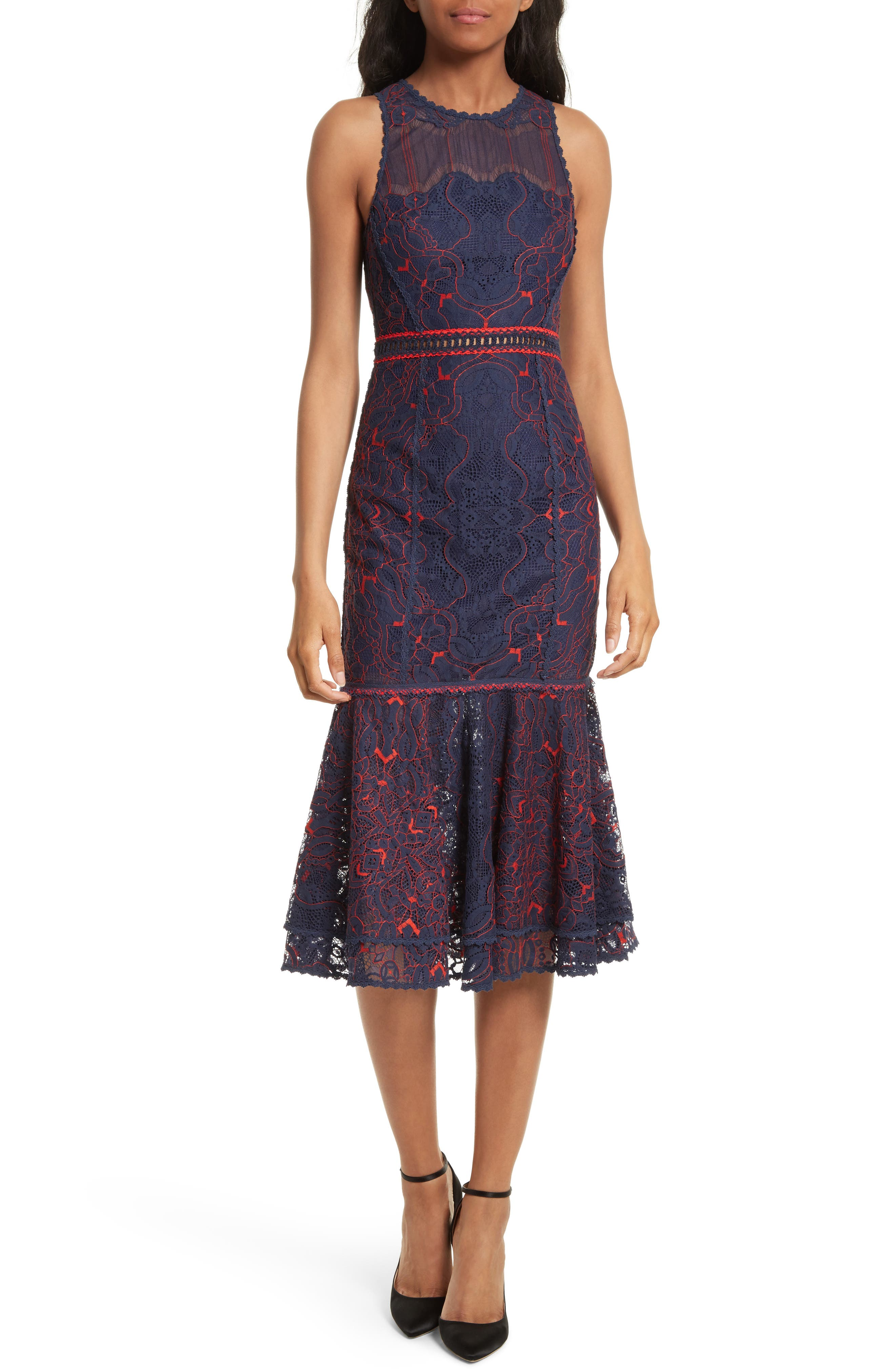 Lace Ruffle Hem Dress,                             Main thumbnail 1, color,                             497