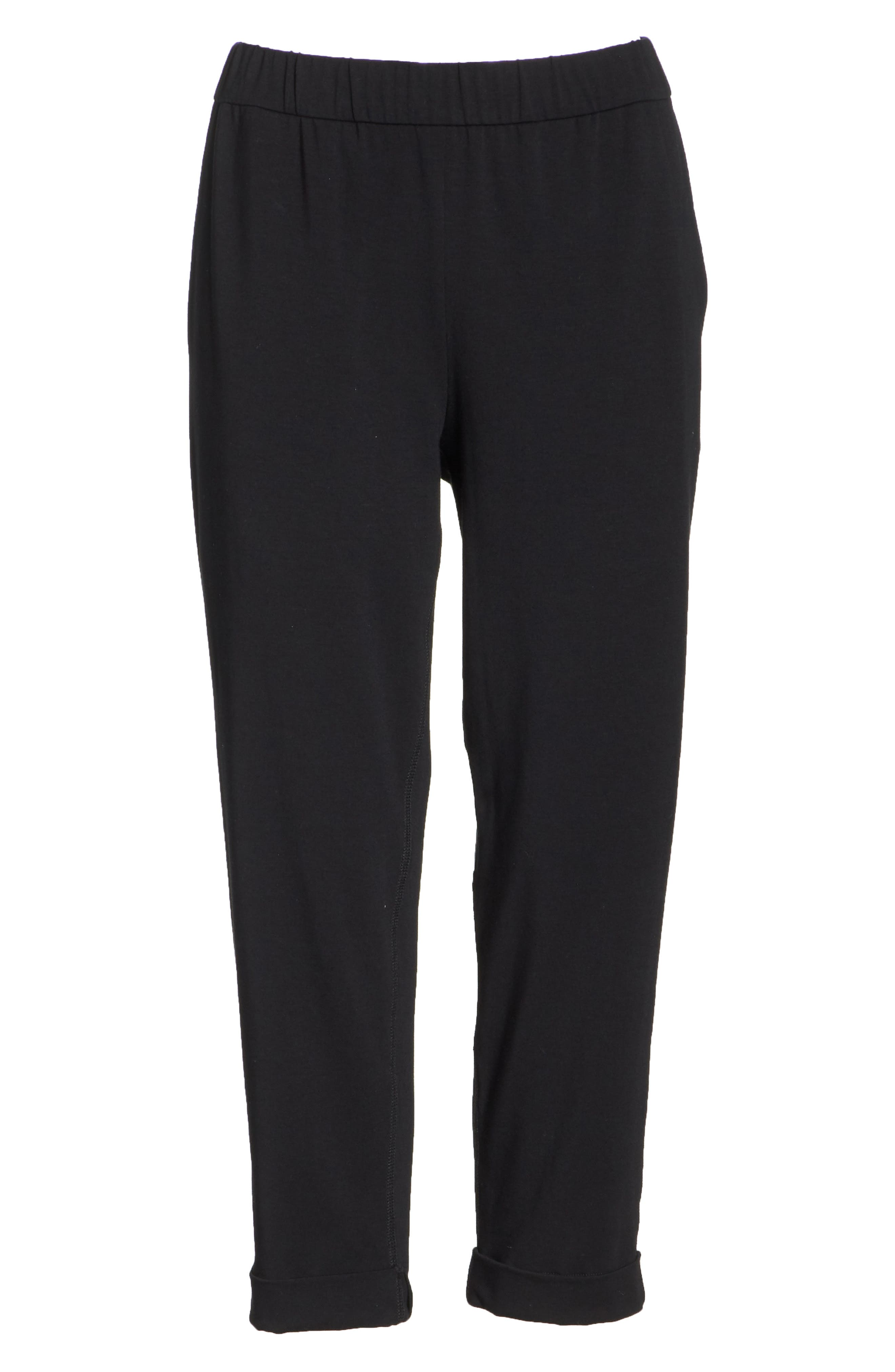 Slim Cropped Pants,                             Alternate thumbnail 6, color,                             BLACK