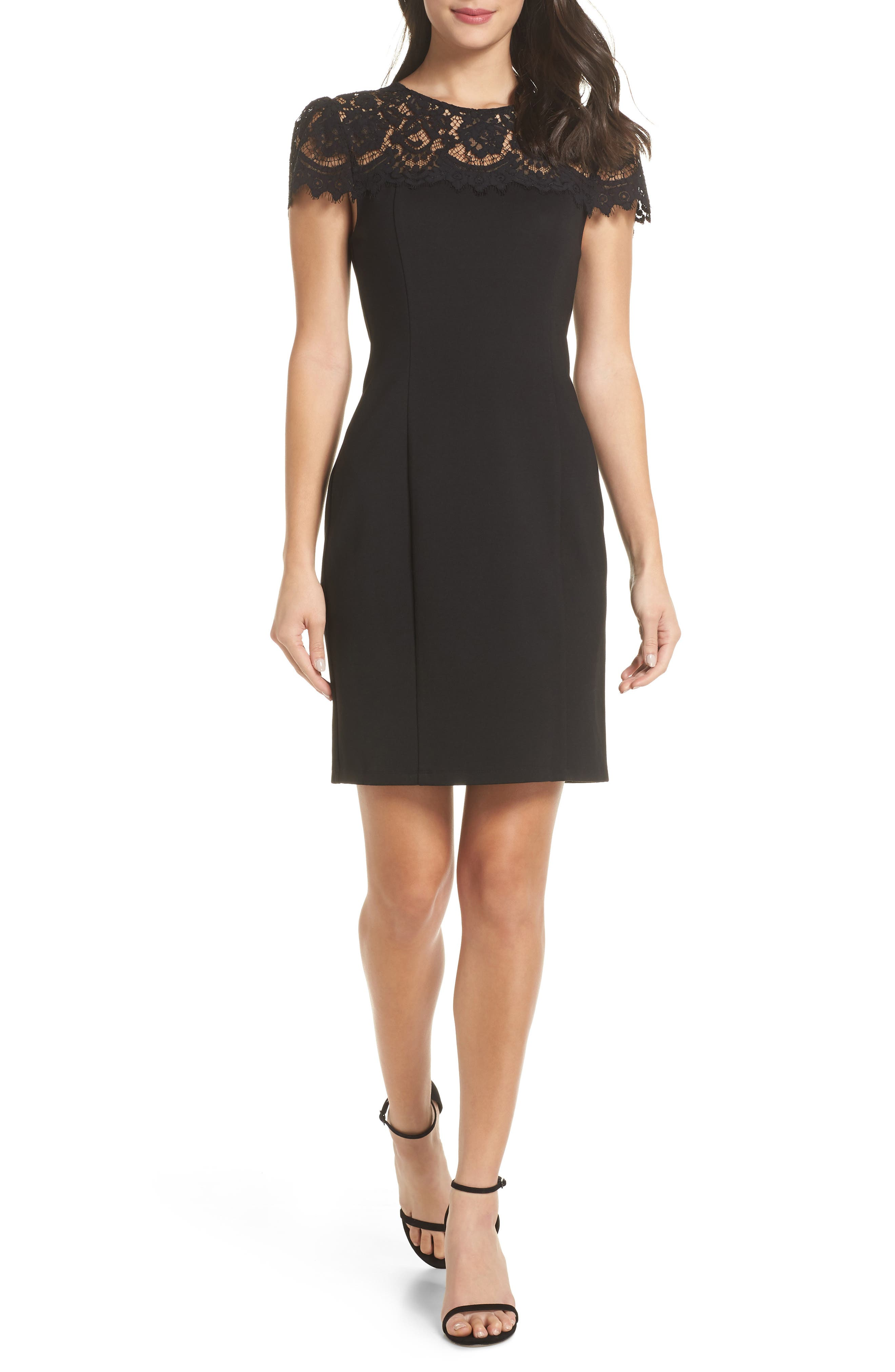 CHARLES HENRY Lace Yoke Sheath Dress in Black